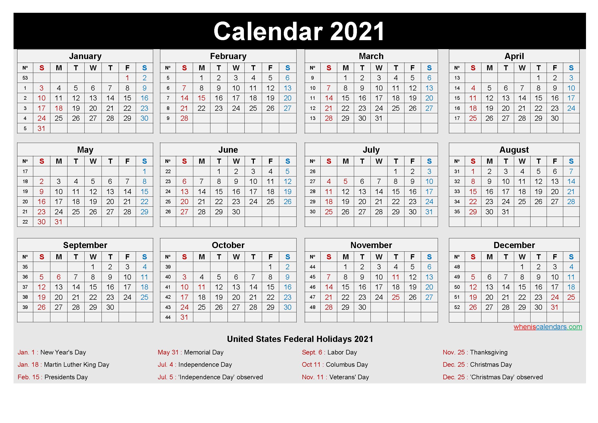 Free Editable Printable Calendar 2021