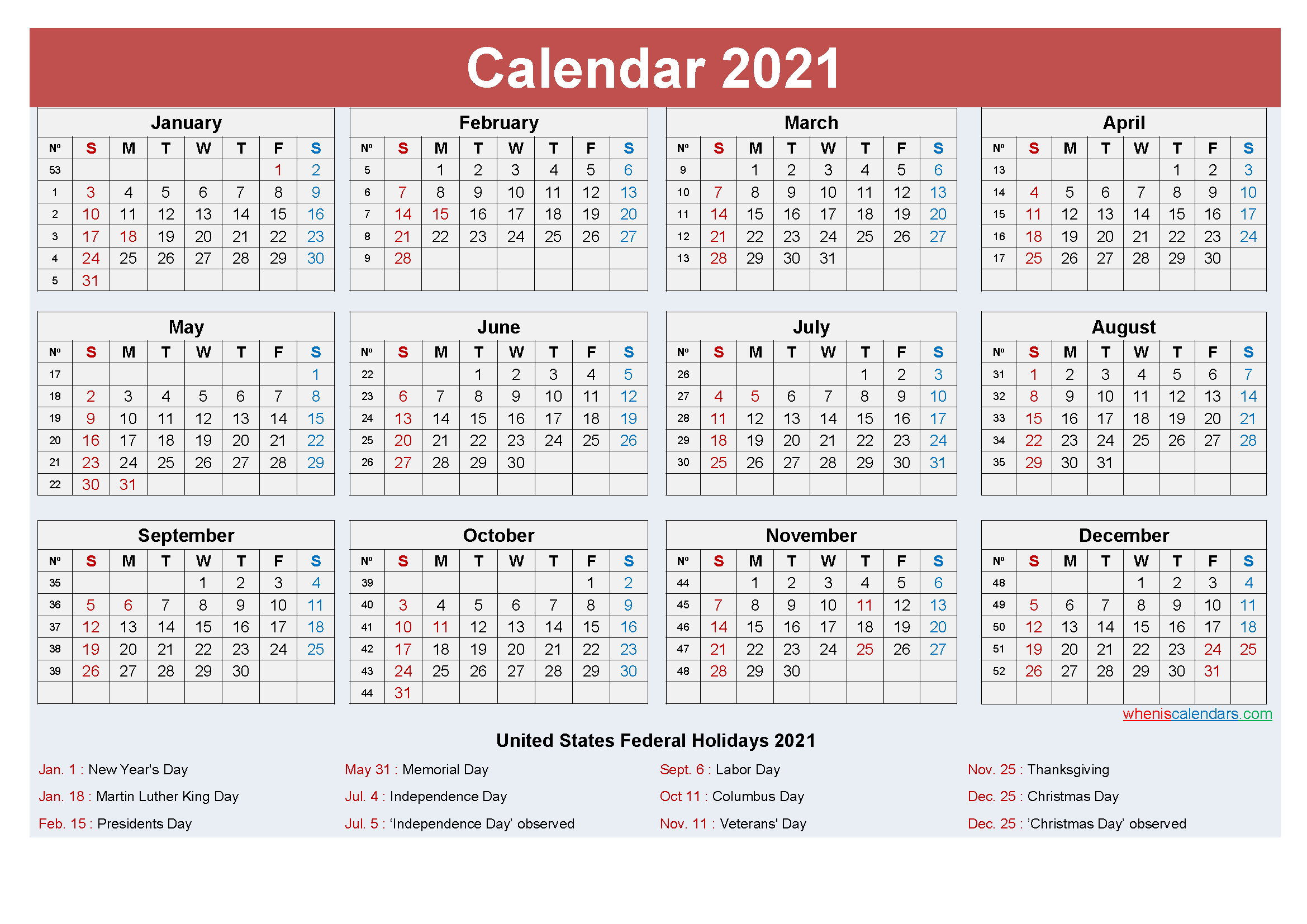 Free Yearly 2021 Calendar with Holidays Word, PDF - Free ...
