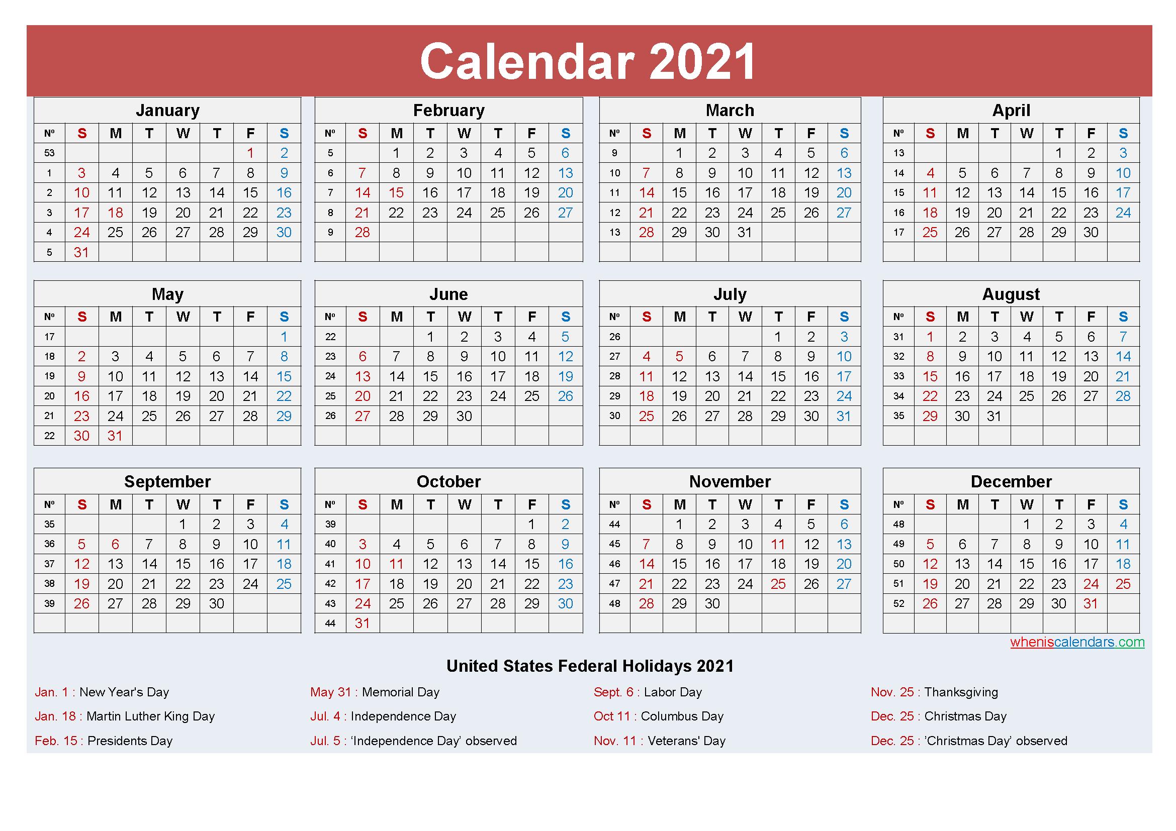 Free Editable Calendar Template 2021