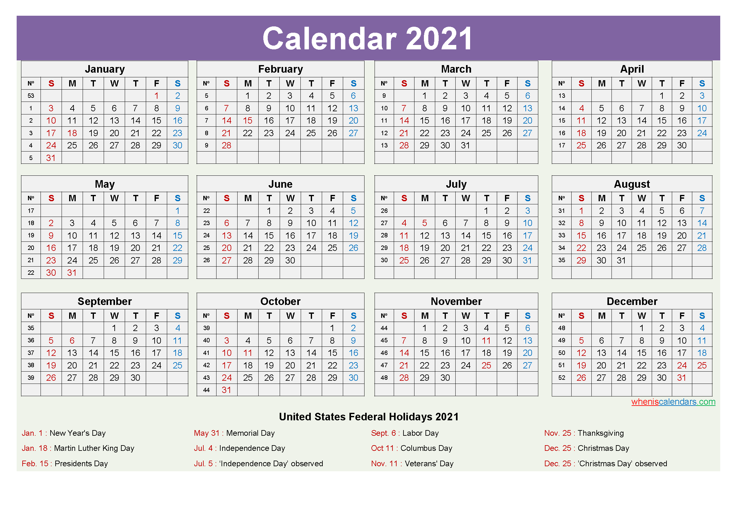 Computer Desktop Calendar 2021 with Holidays