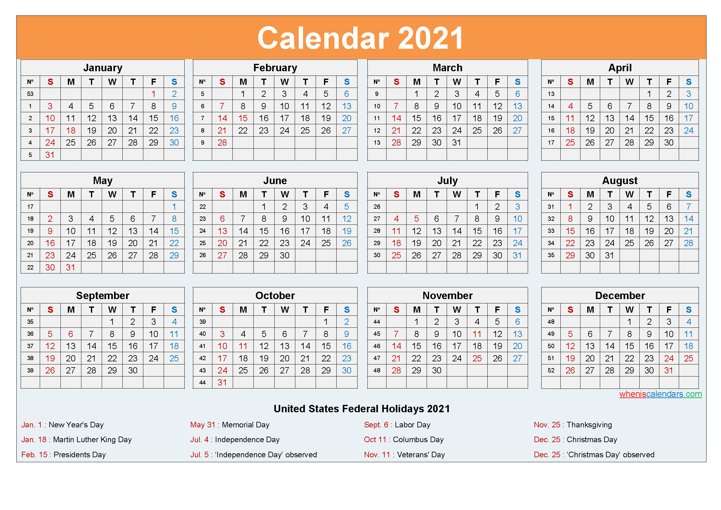 Editable Printable Calendar 2021 Word