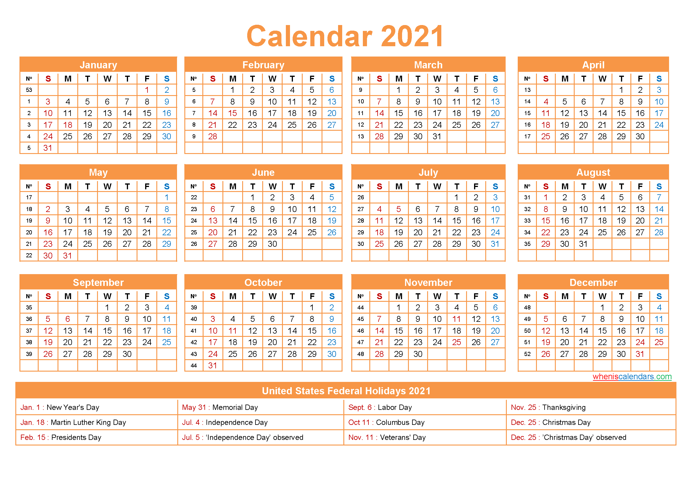 2021 Calendar with Holidays Printable Word, PDF | Free ...