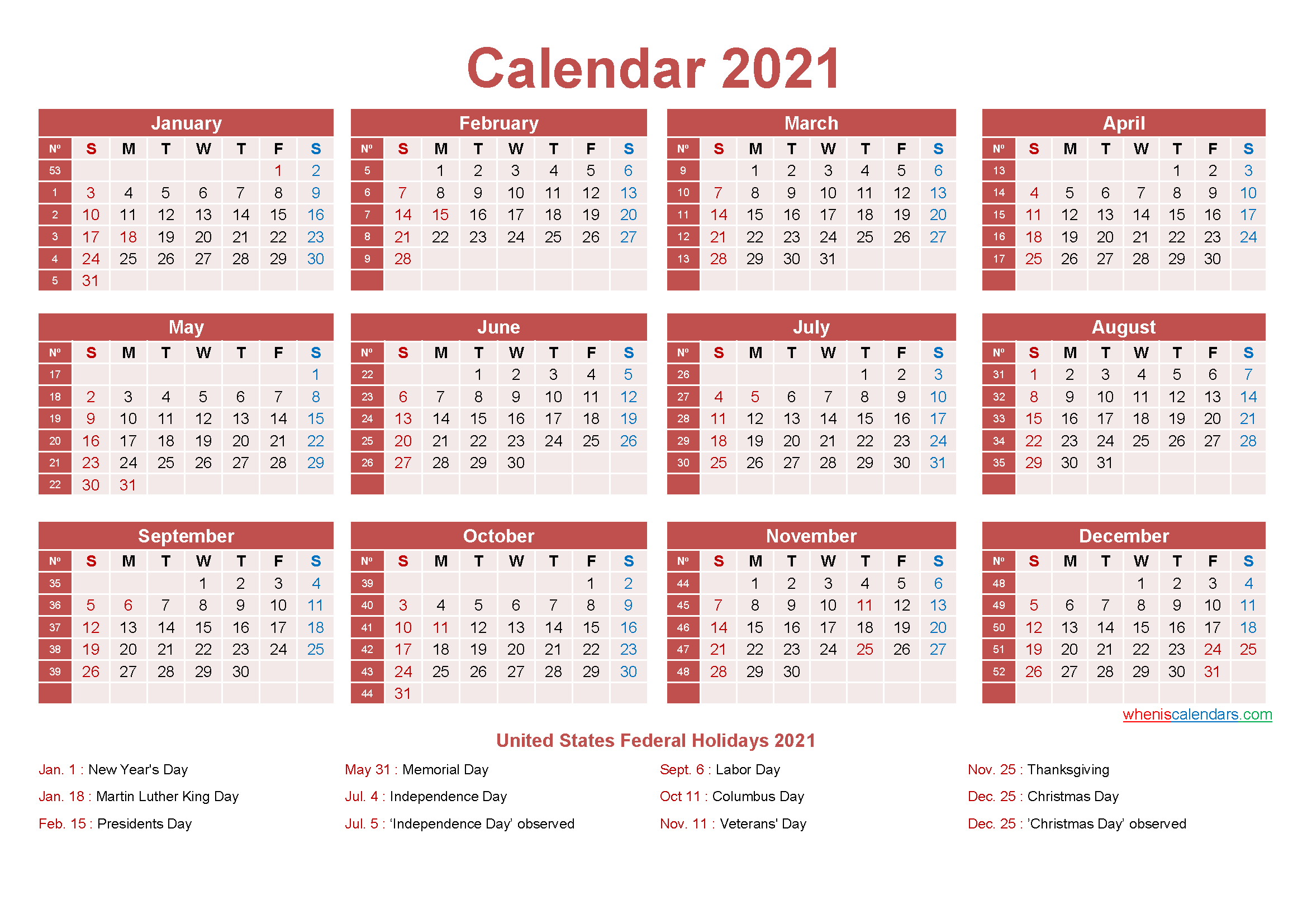 Small Desk Calendar 2021 with Holidays