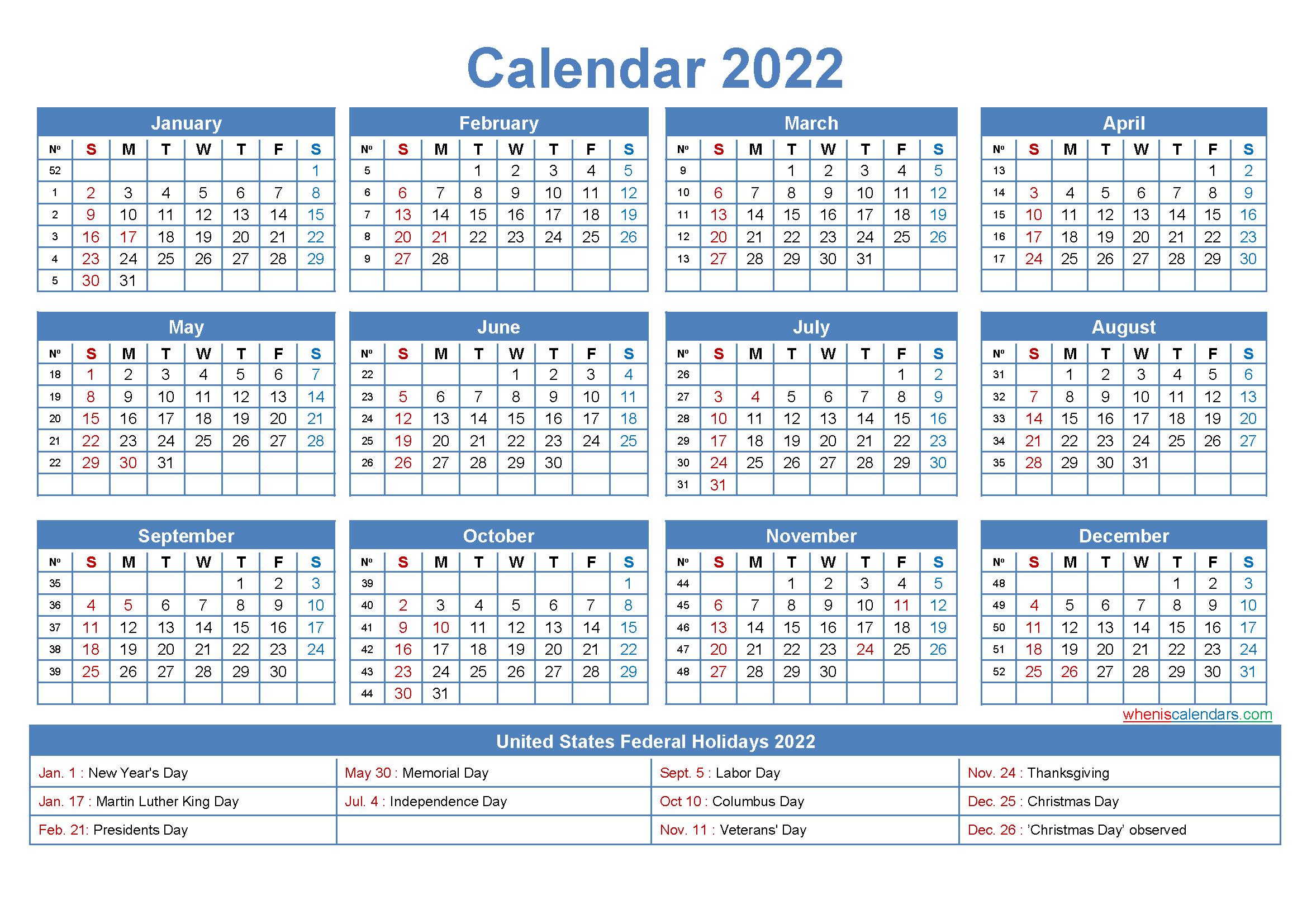 22x17 Desk Calendar 2022 with Holidays