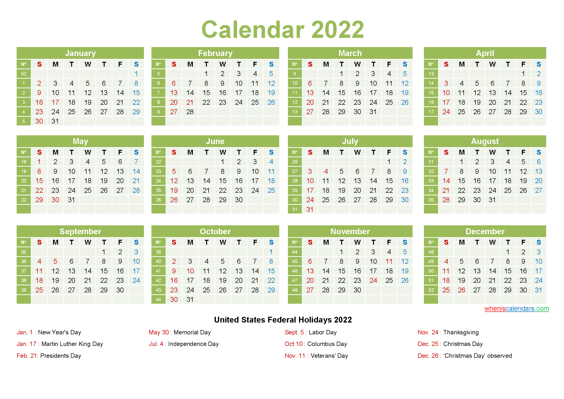 Printable Yearly 2022 Calendar with Holidays Word, PDF