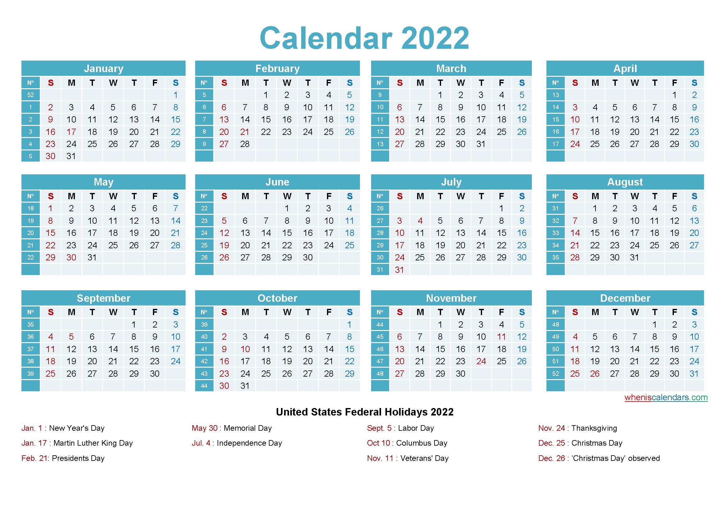 Editable Calendar Template 2022