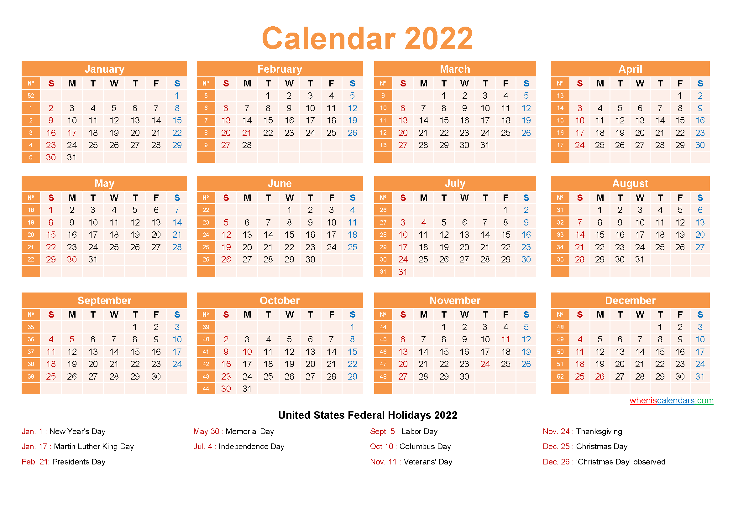 Free Printable 2022 Calendar with Holidays as Word, PDF