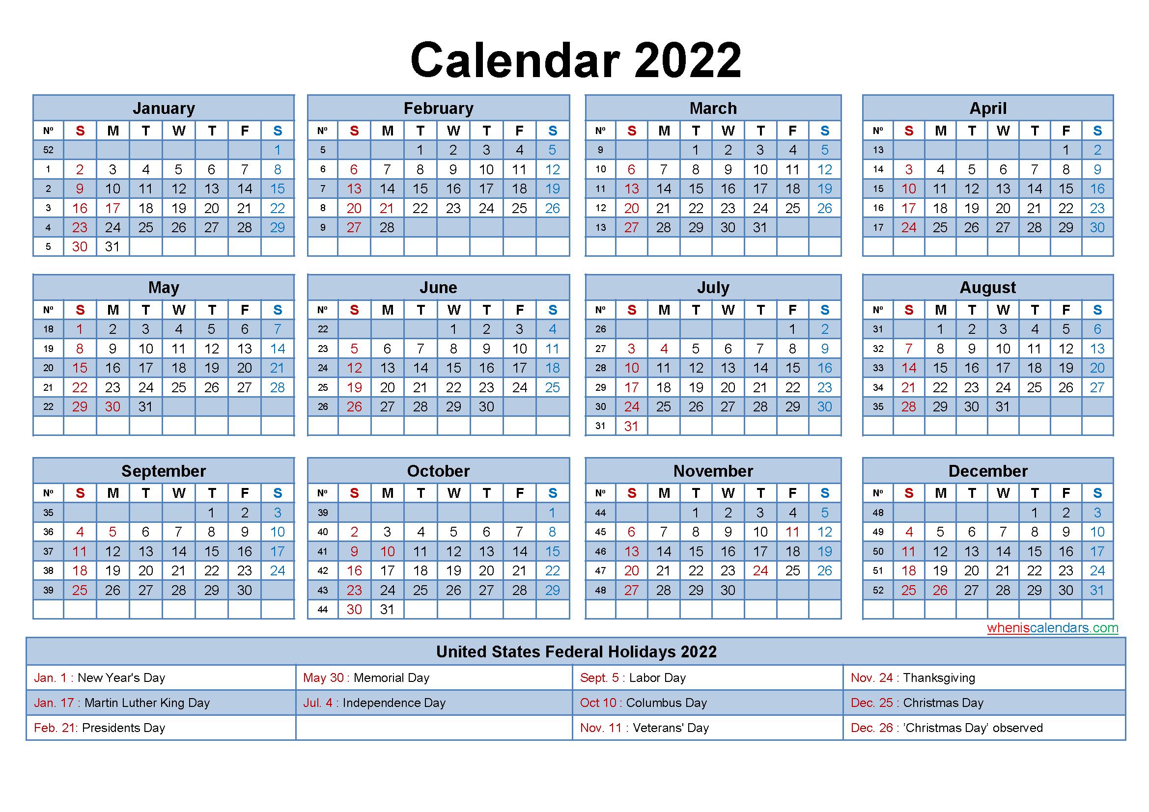 Free Editable Printable Calendar 2022