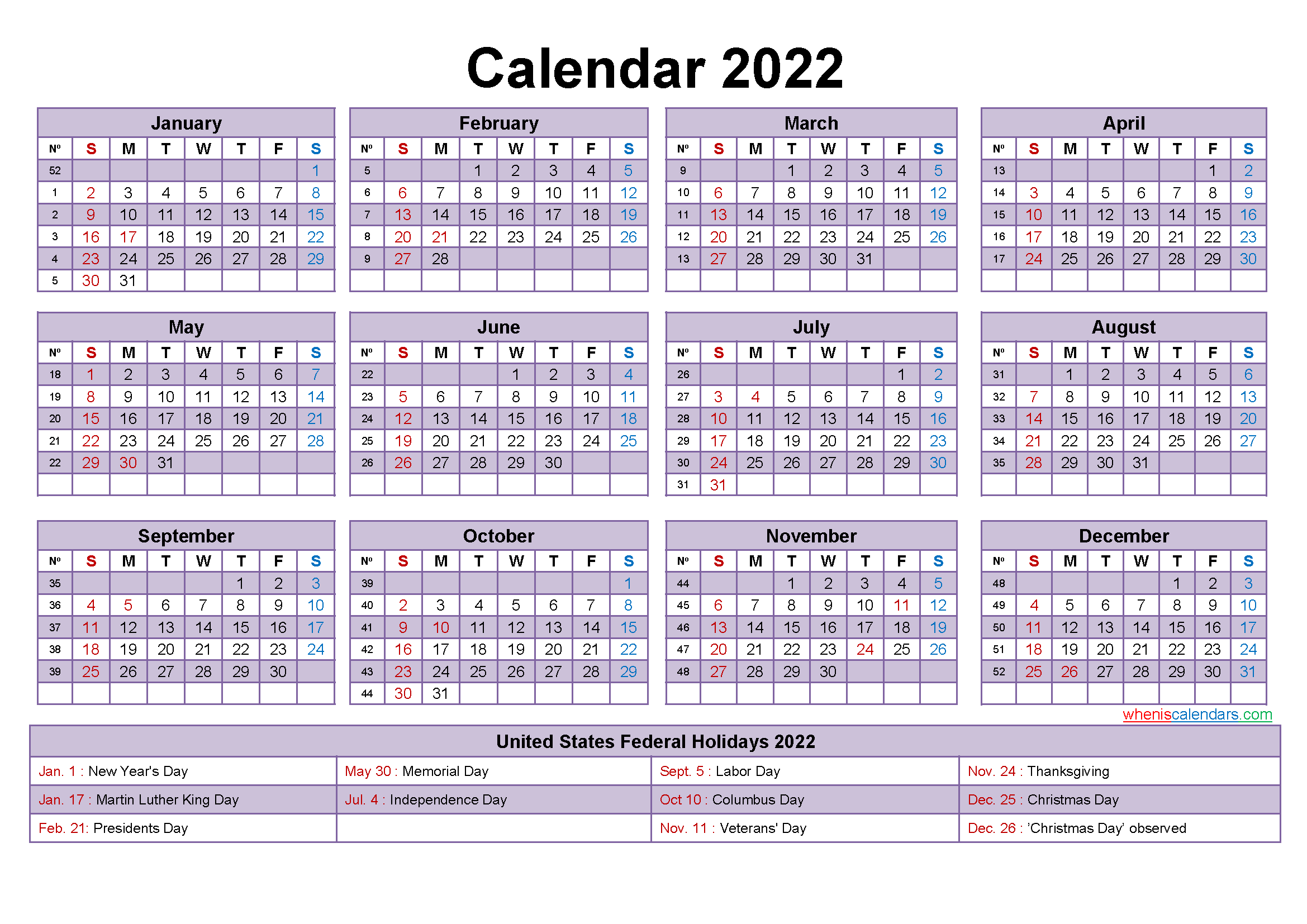 2022 Calendar with Holidays Template Word, PDF - Free ...