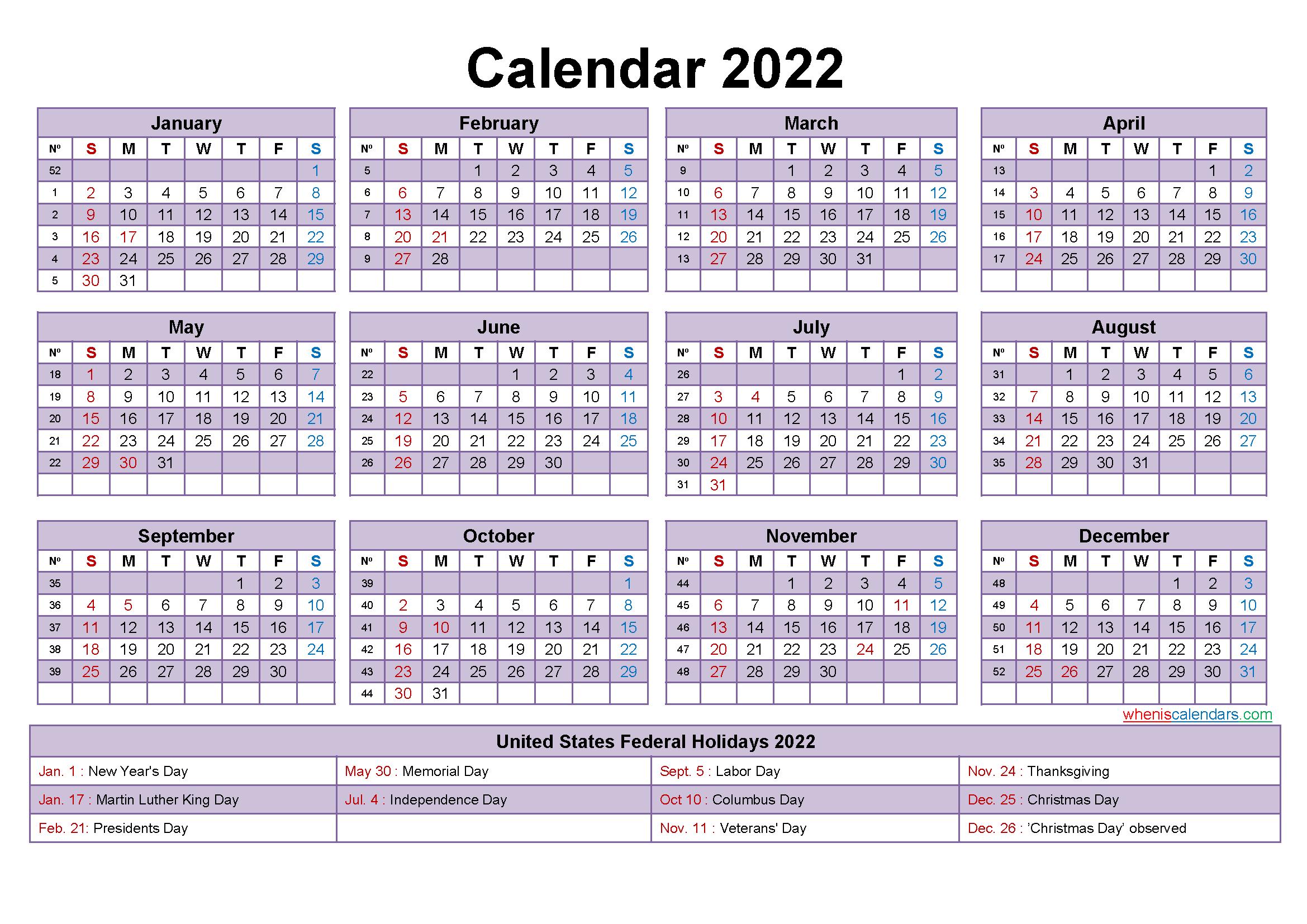 Mini Desk Calendar 2022 Free Printable