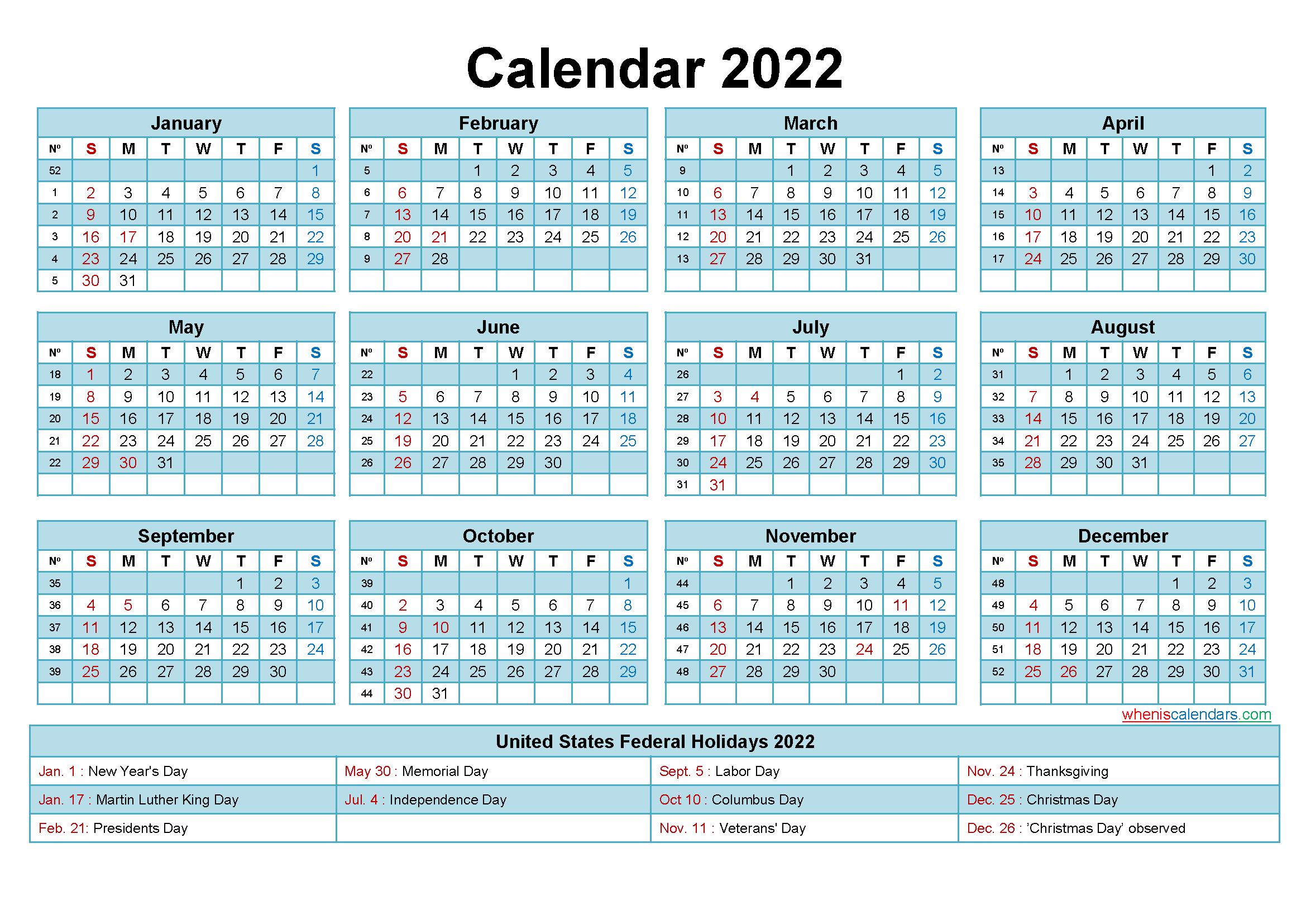 Editable Calendar Template 2022 Word