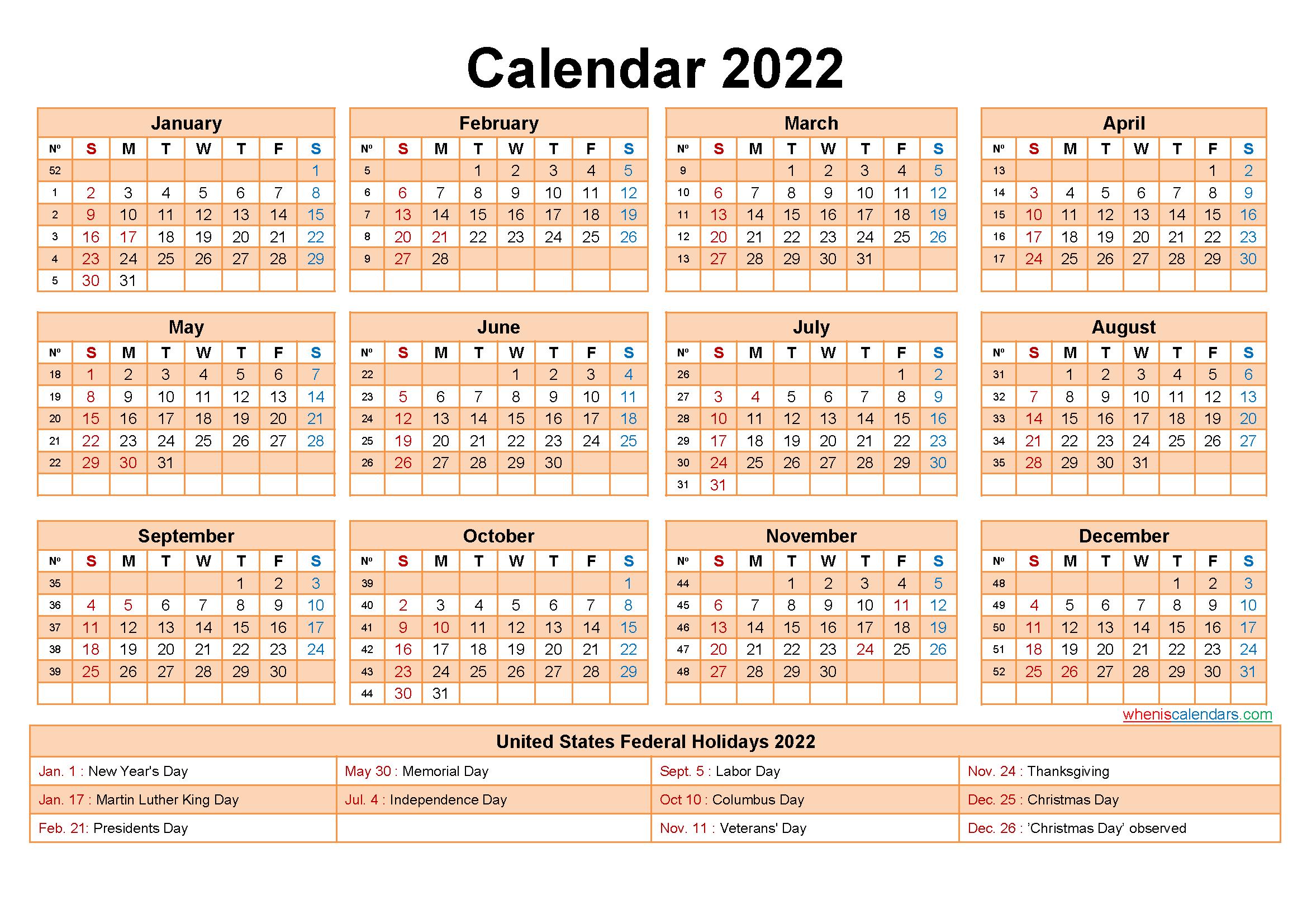 Printable Editable Calendar 2022
