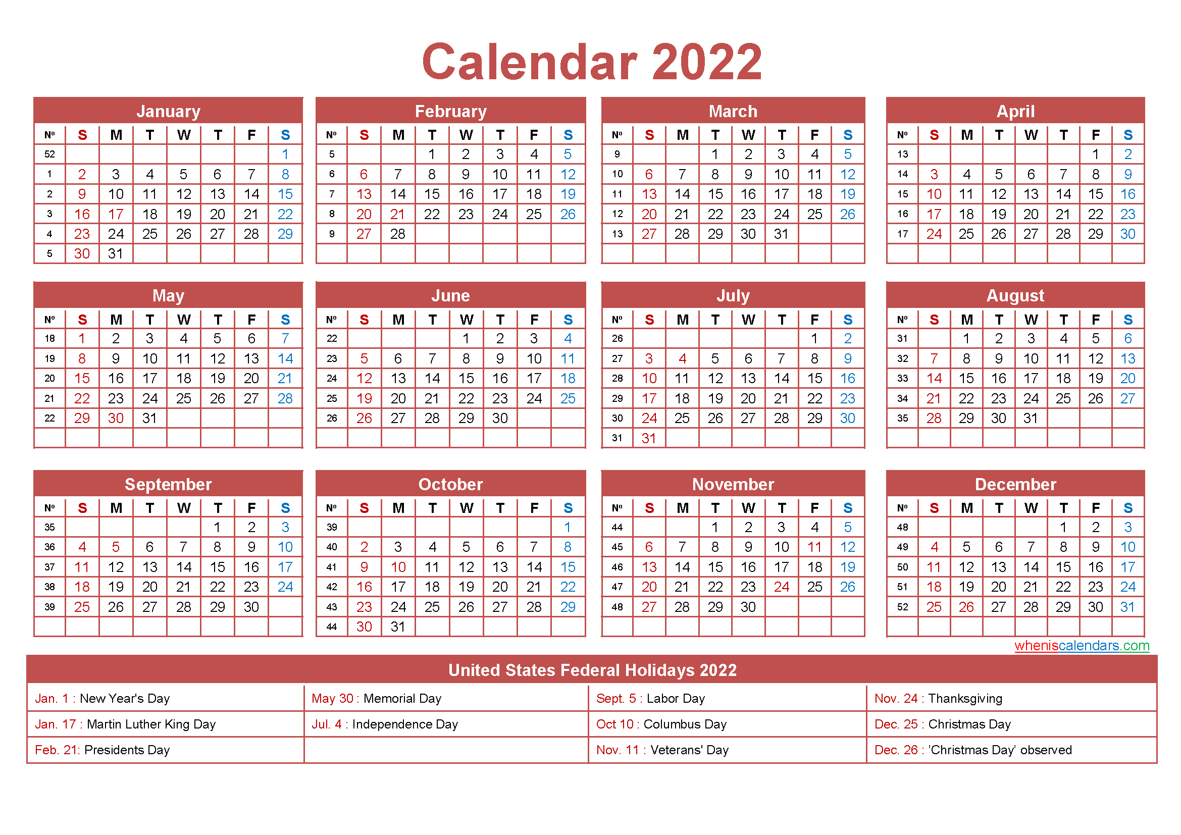 Editable Printable Calendar 2022