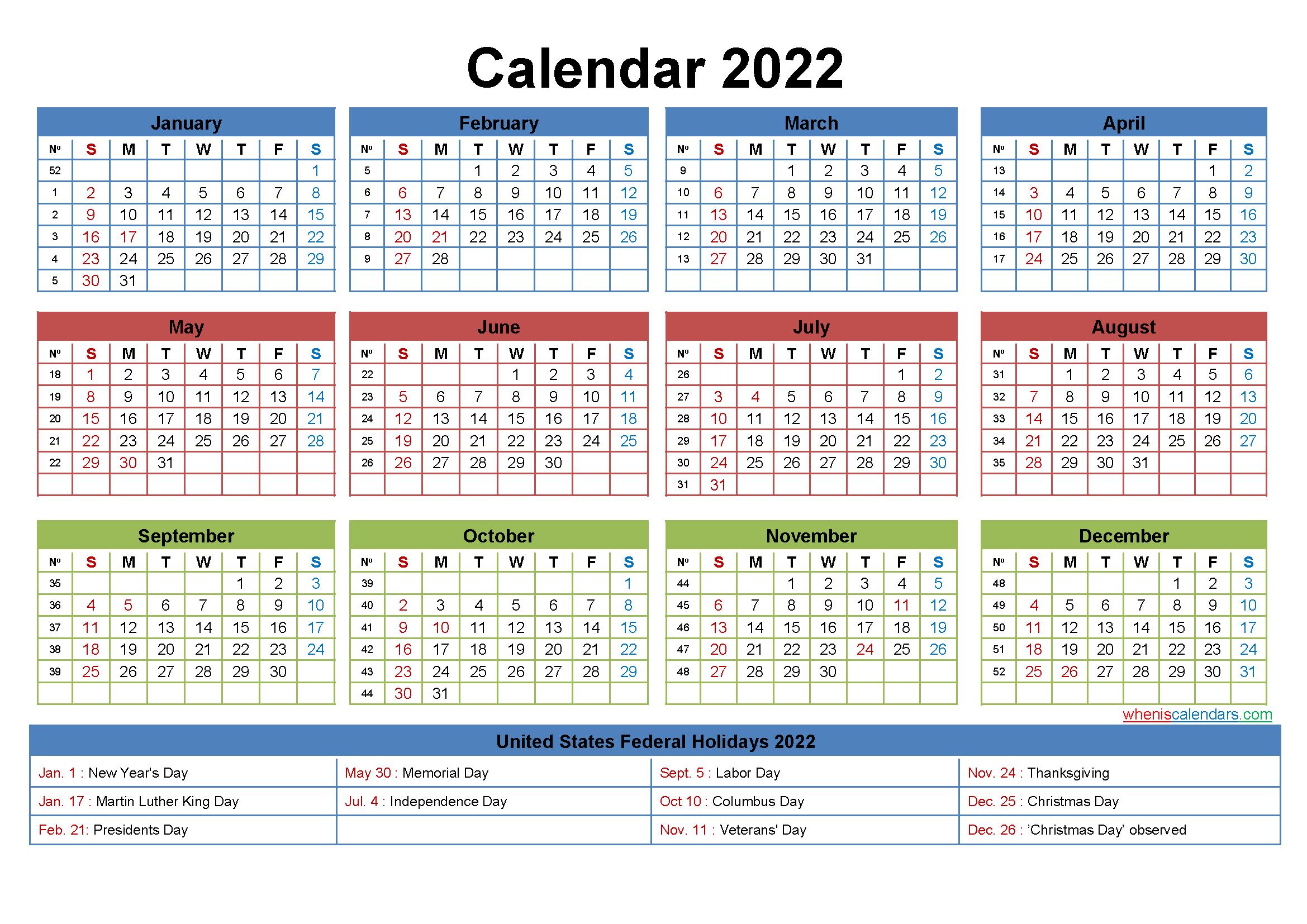 Computer Desktop Calendar 2022 with Holidays