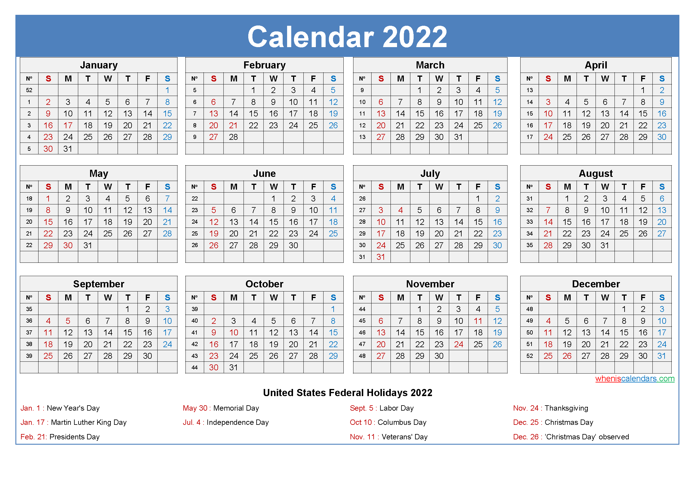 Free Printable Yearly 2022 Calendar with Holidays as Word, PDF