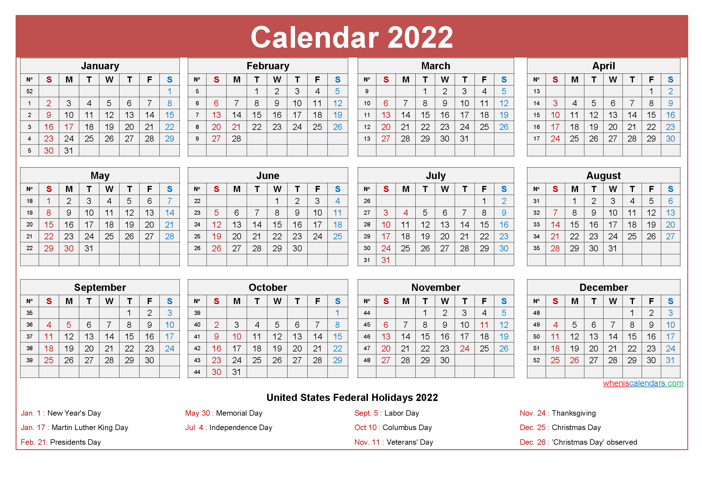 Small Desk Calendar 2022 with Holidays