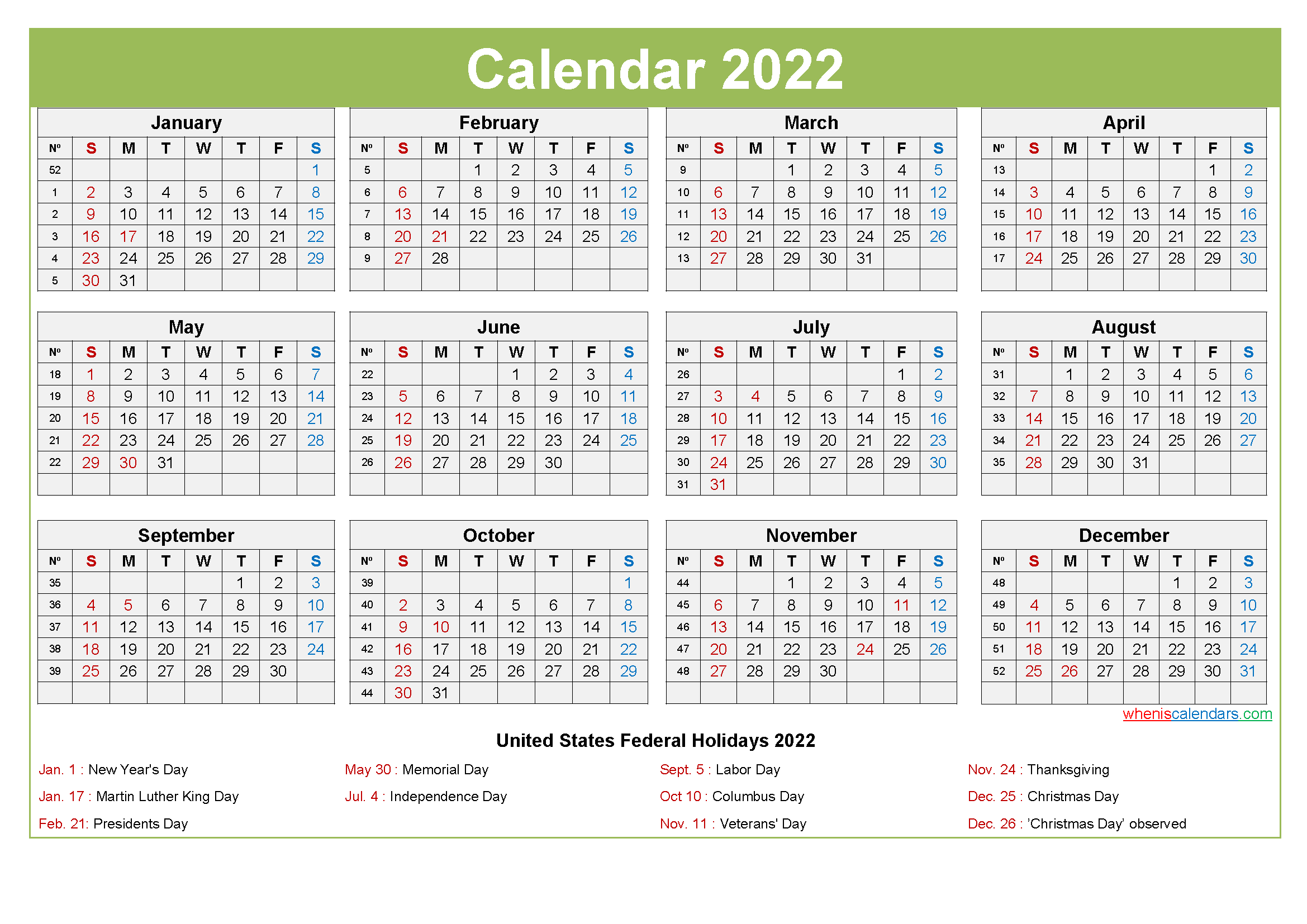 Computer Desktop Calendar 2022 with Holidays
