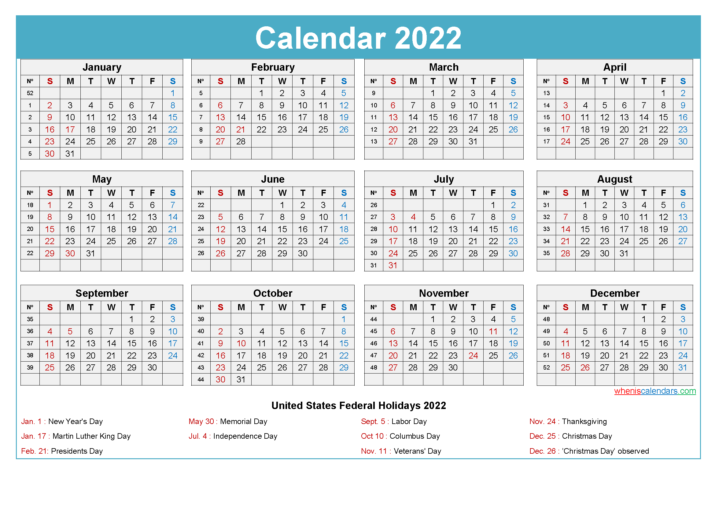 Maxine Desk Calendar 2022 with Holidays Printable