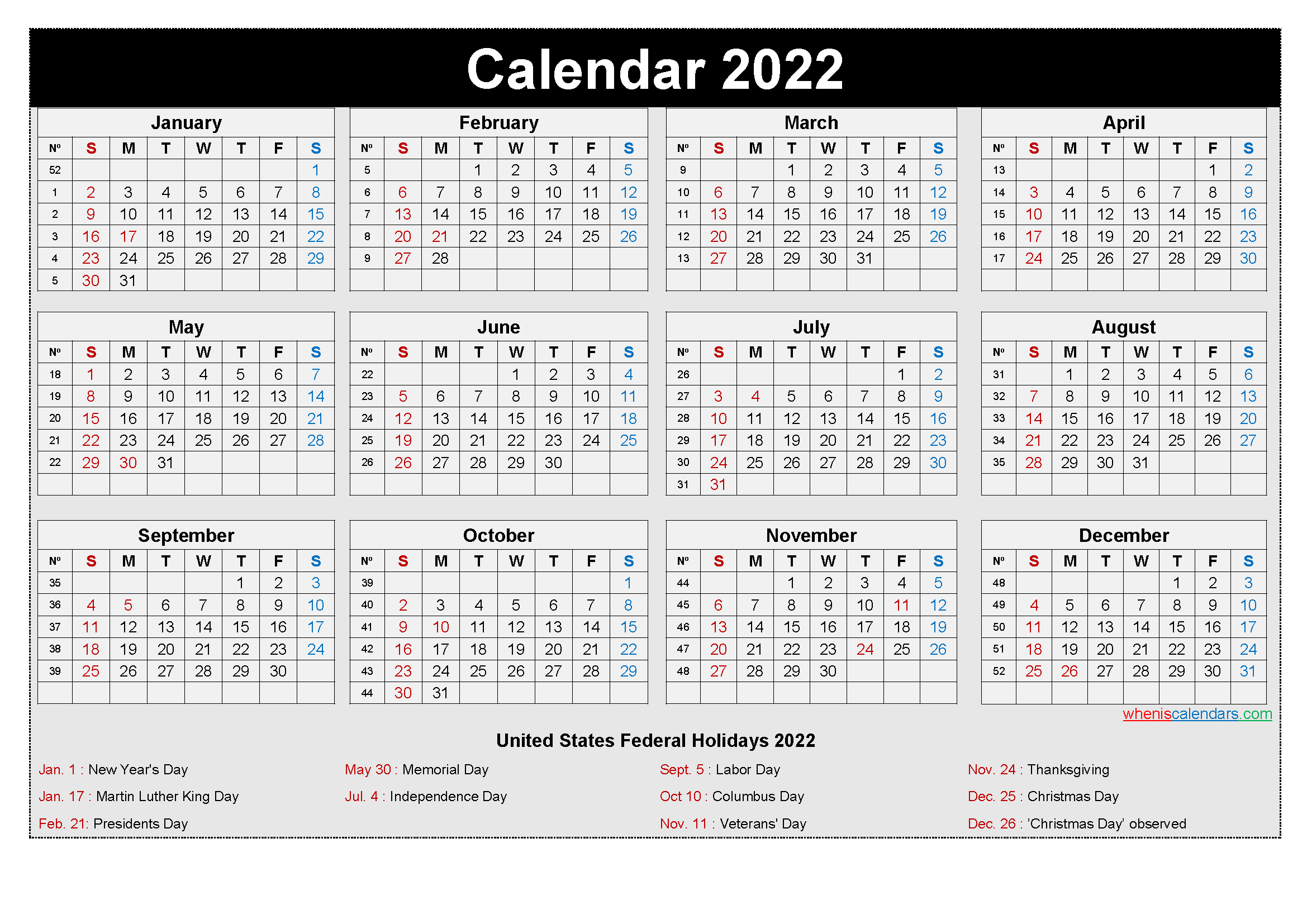 Free Printable Yearly 2022 Calendar with Holidays as Word ...
