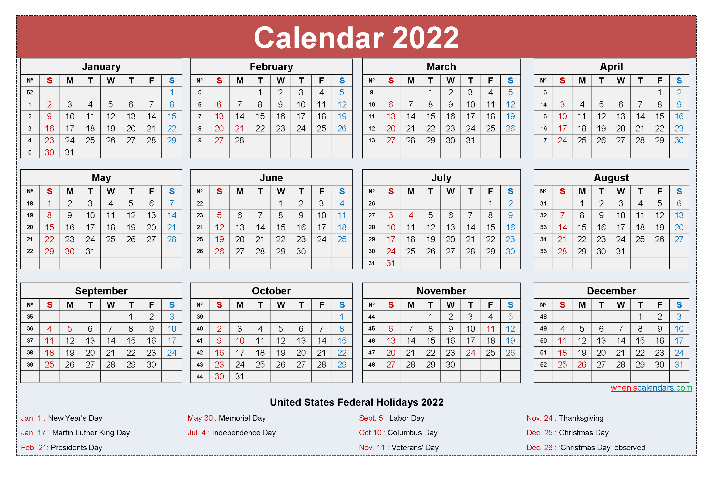 Free Yearly 2022 Calendar with Holidays Word, PDF