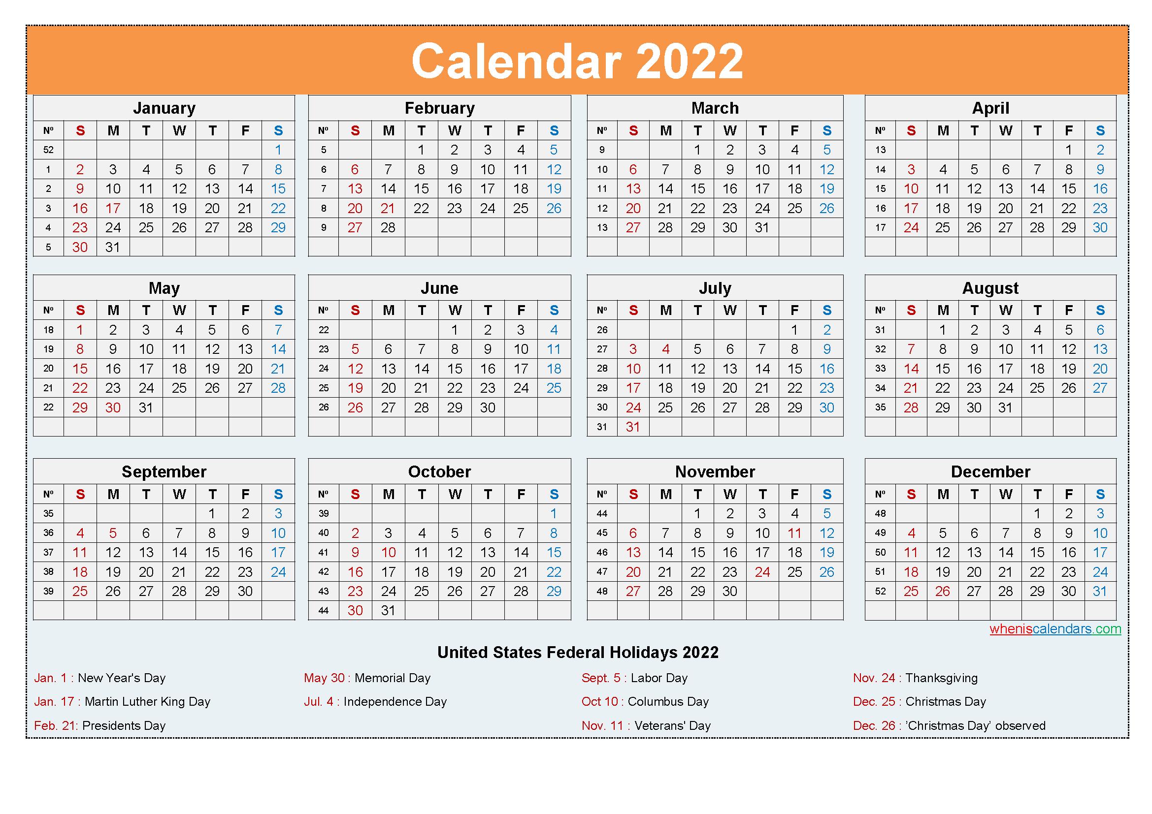 Editable Printable Calendar 2022 Word