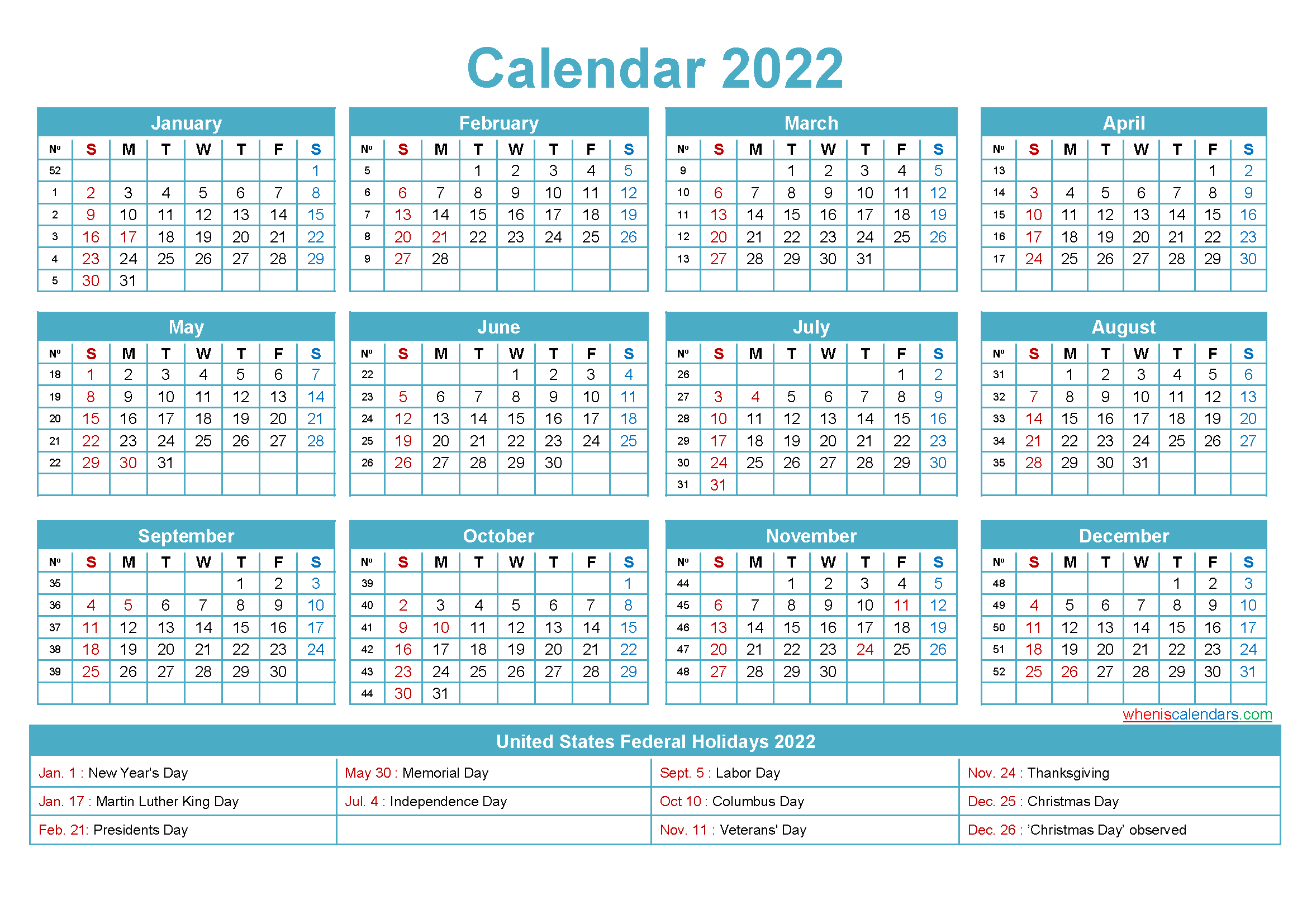 2022 Calendar with Holidays Template Word, PDF