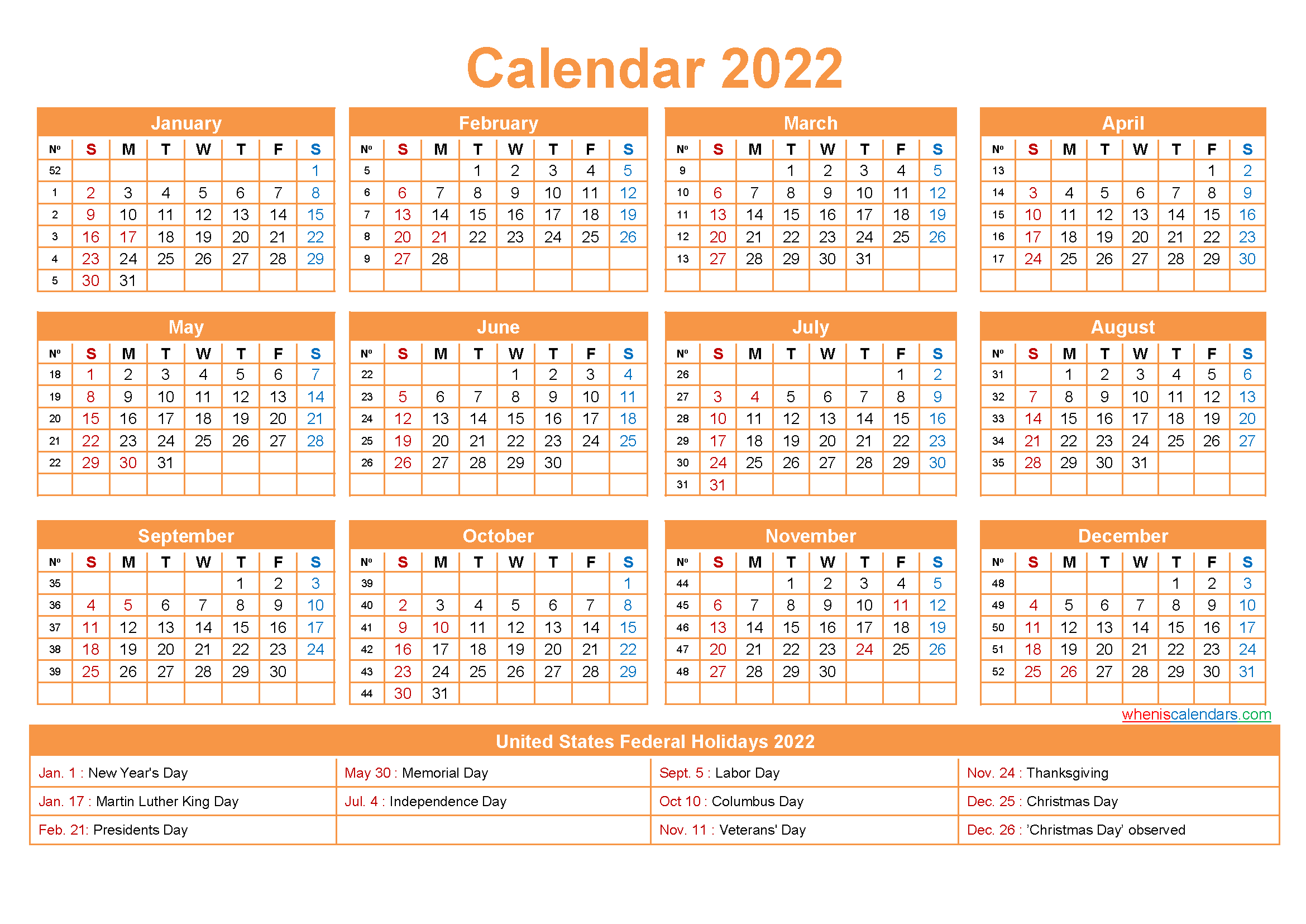 2022 Calendar with Holidays Printable Word, PDF