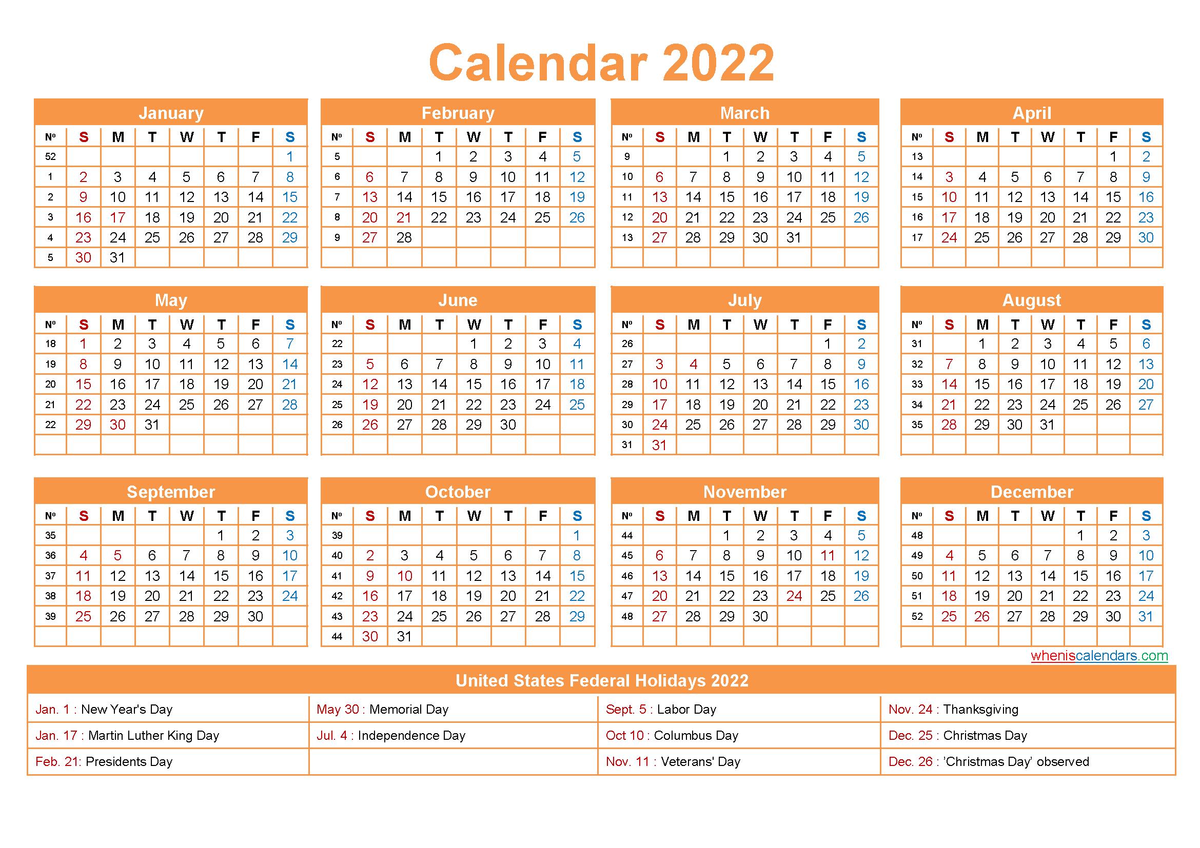 2022 Calendar With Holidays Printable Word Pdf