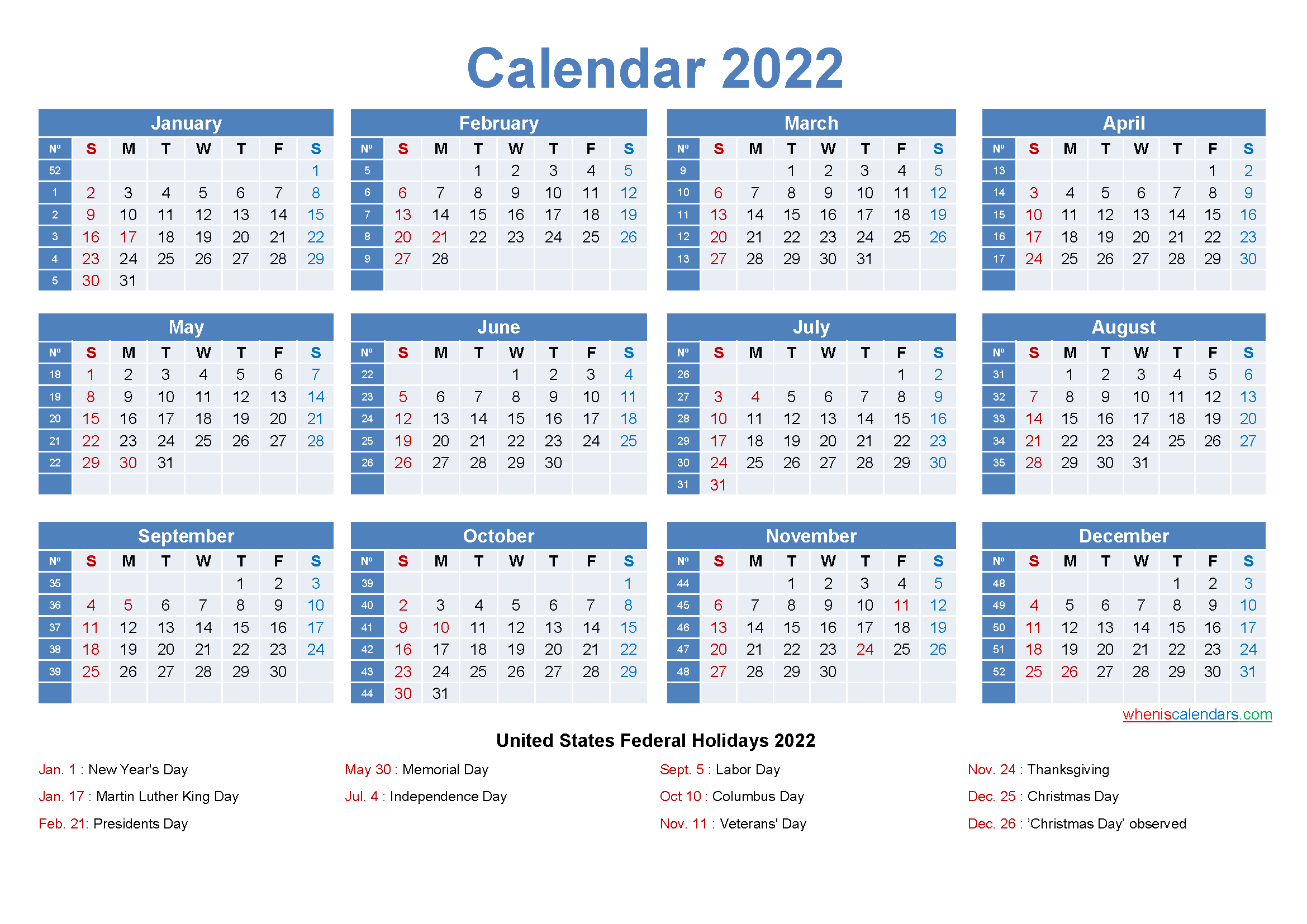 Work Week Calendar 2022.Large Desk Calendar 2022 With Holidays Free Printable 2021 Monthly Calendar With Holidays
