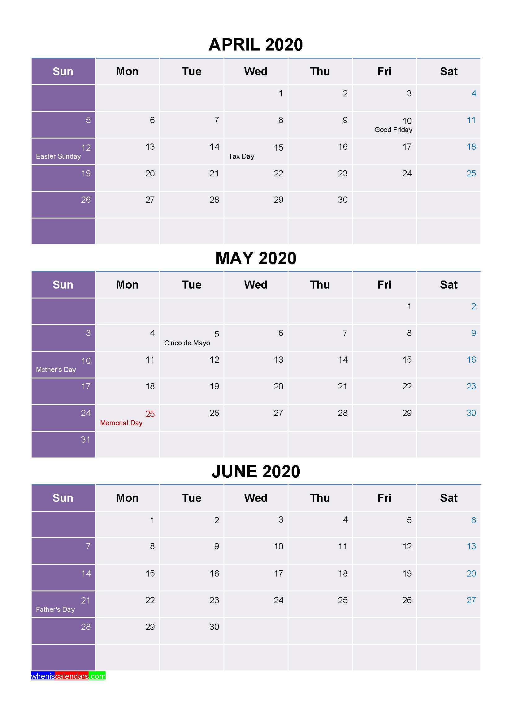 Printable April May June 2020 Calendar with Holidays