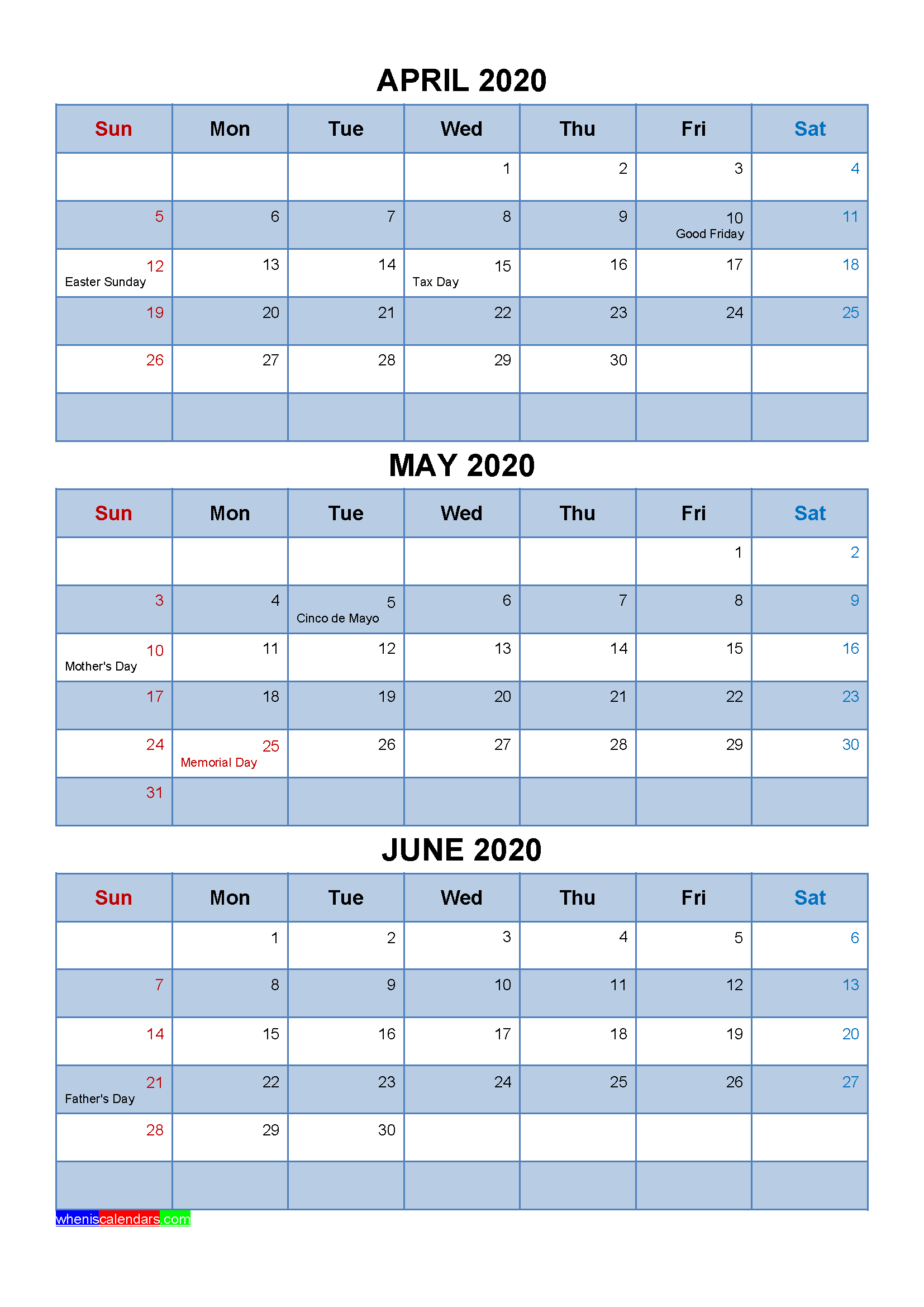 Free Calendar April May June 2020 with Holidays