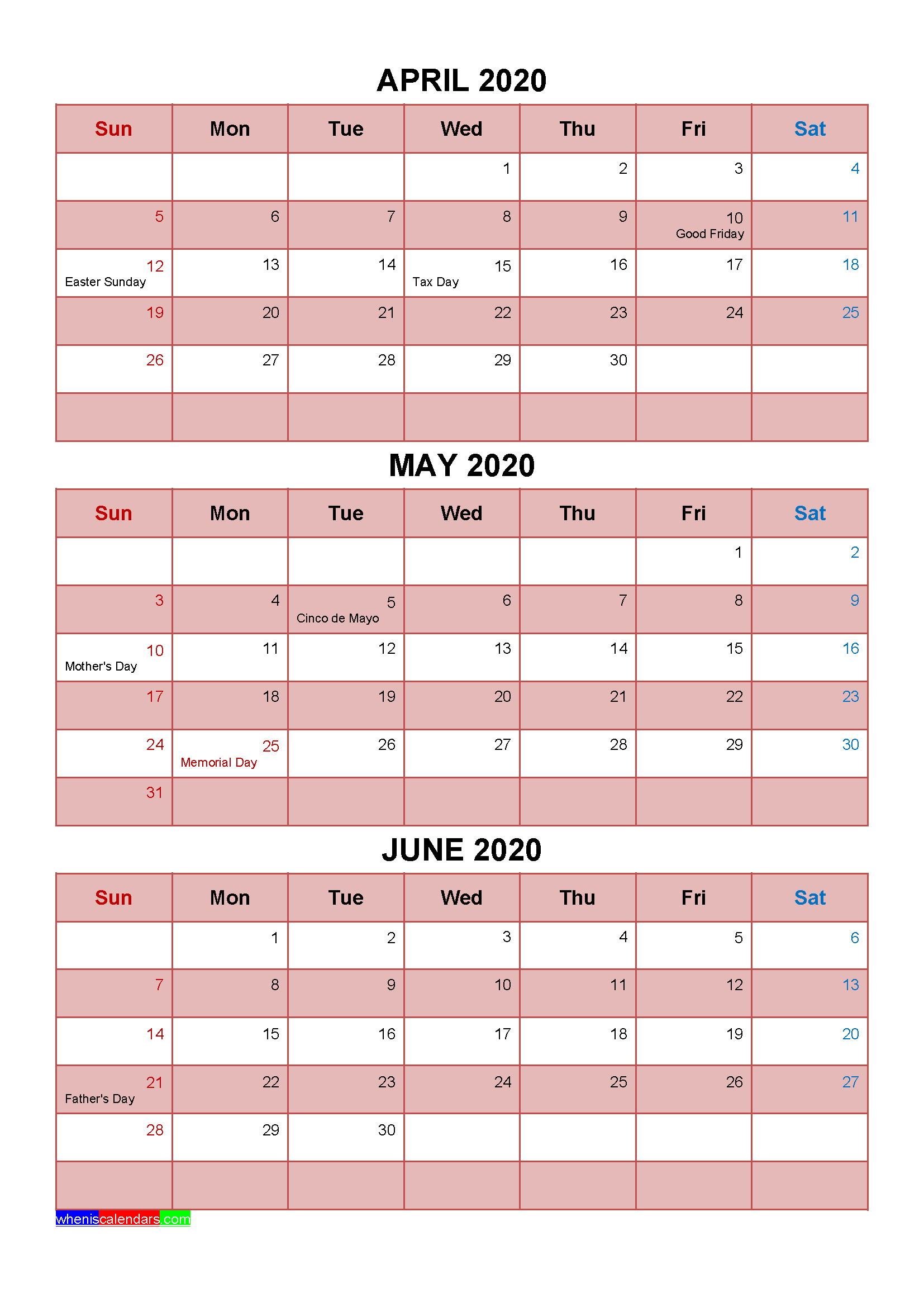 Printable April May June 2020 Calendar with Holidays
