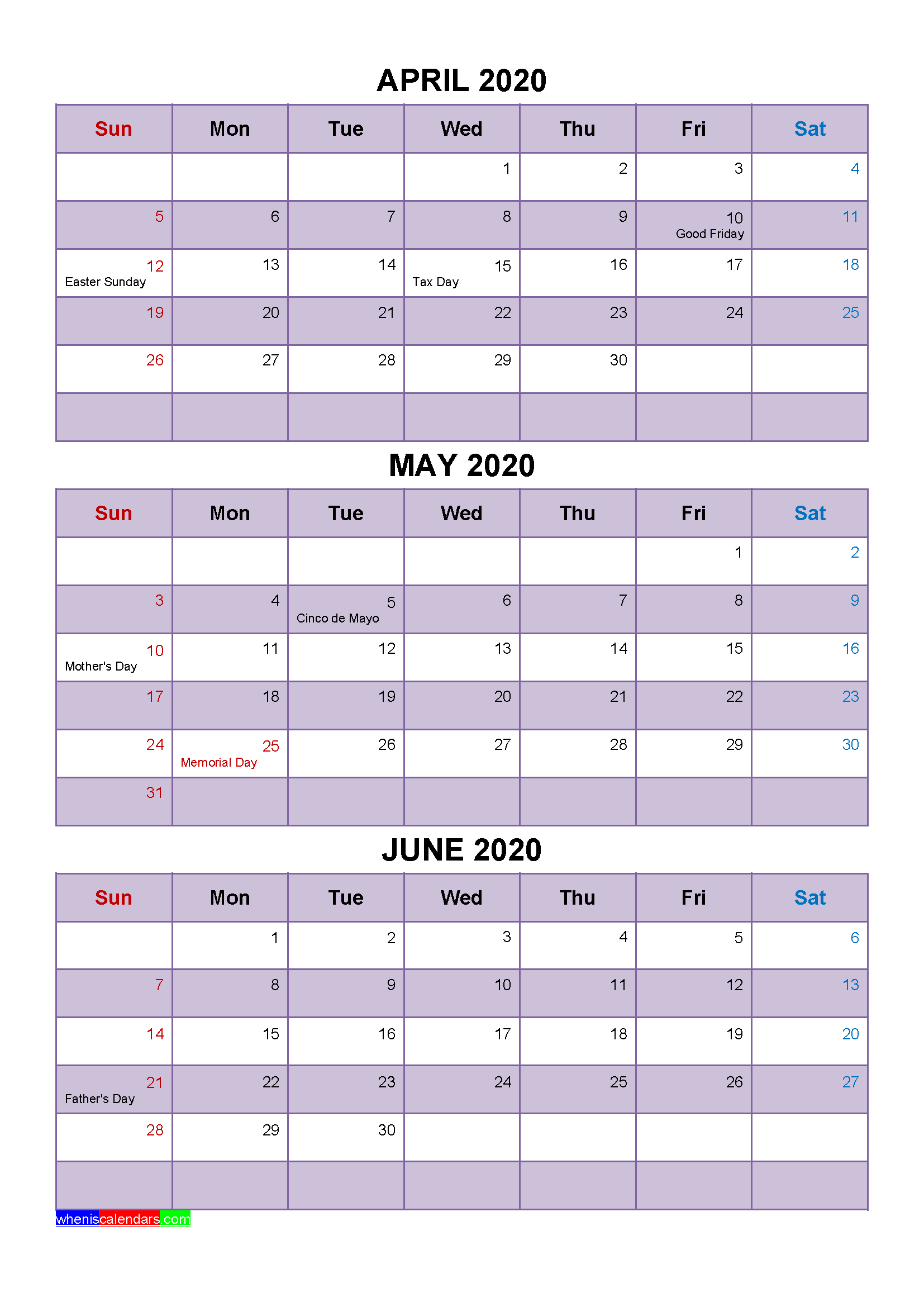 April May June 2020 Calendar with Holidays
