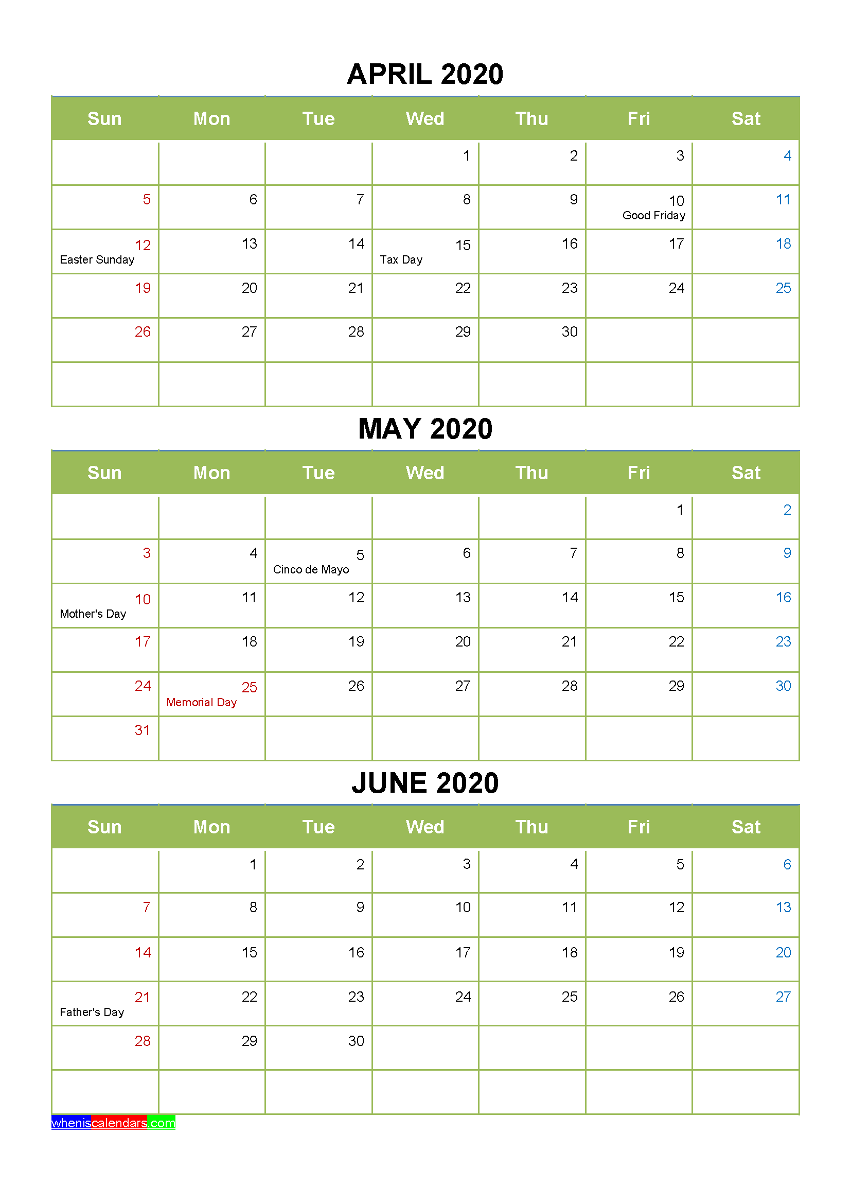 Free Printable April May June 2020 Calendar 3 Months 1 Page