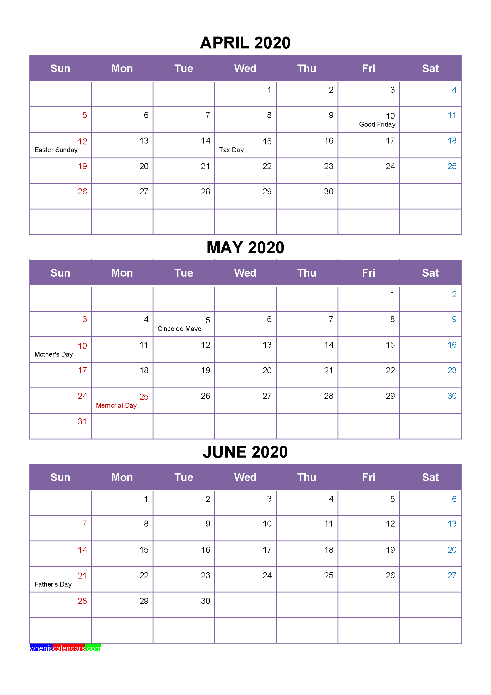 Free April May June 2020 Printable Calendar Template
