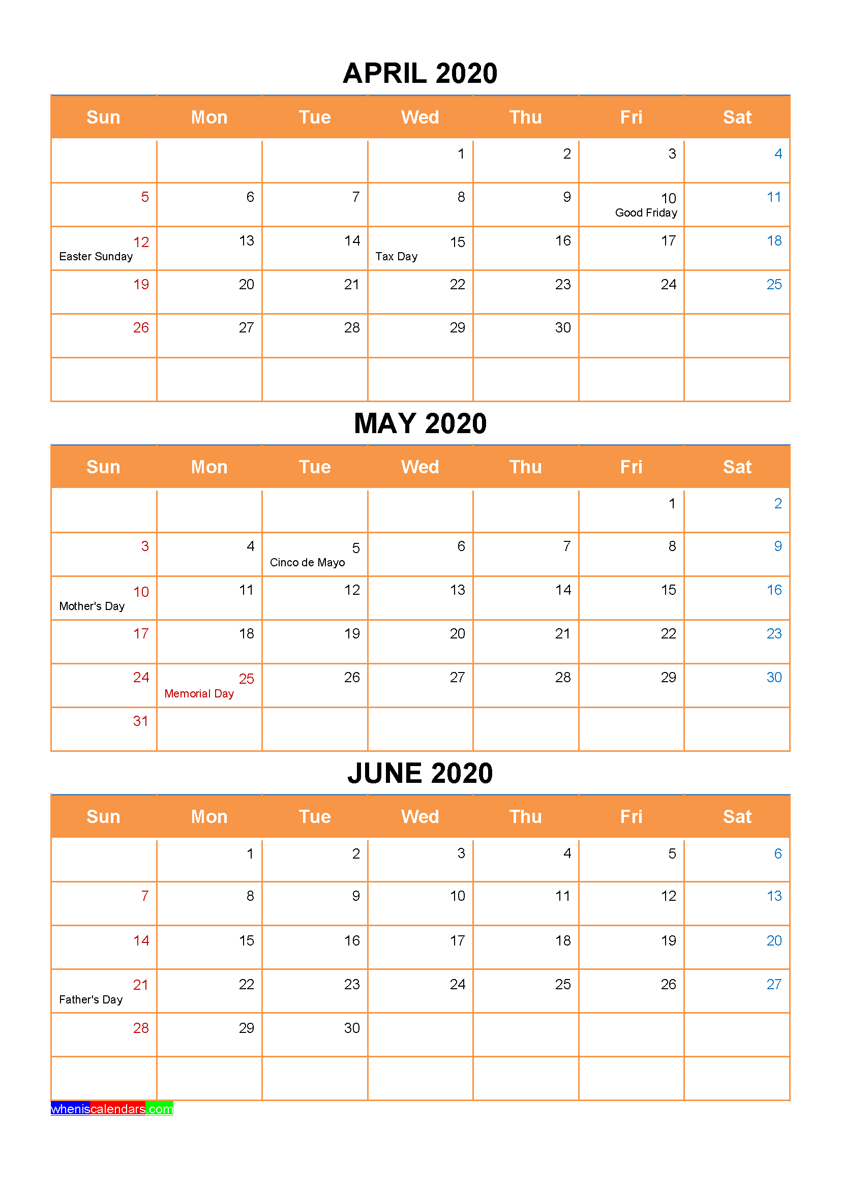 April May June 2020 Calendar with Holidays Printable