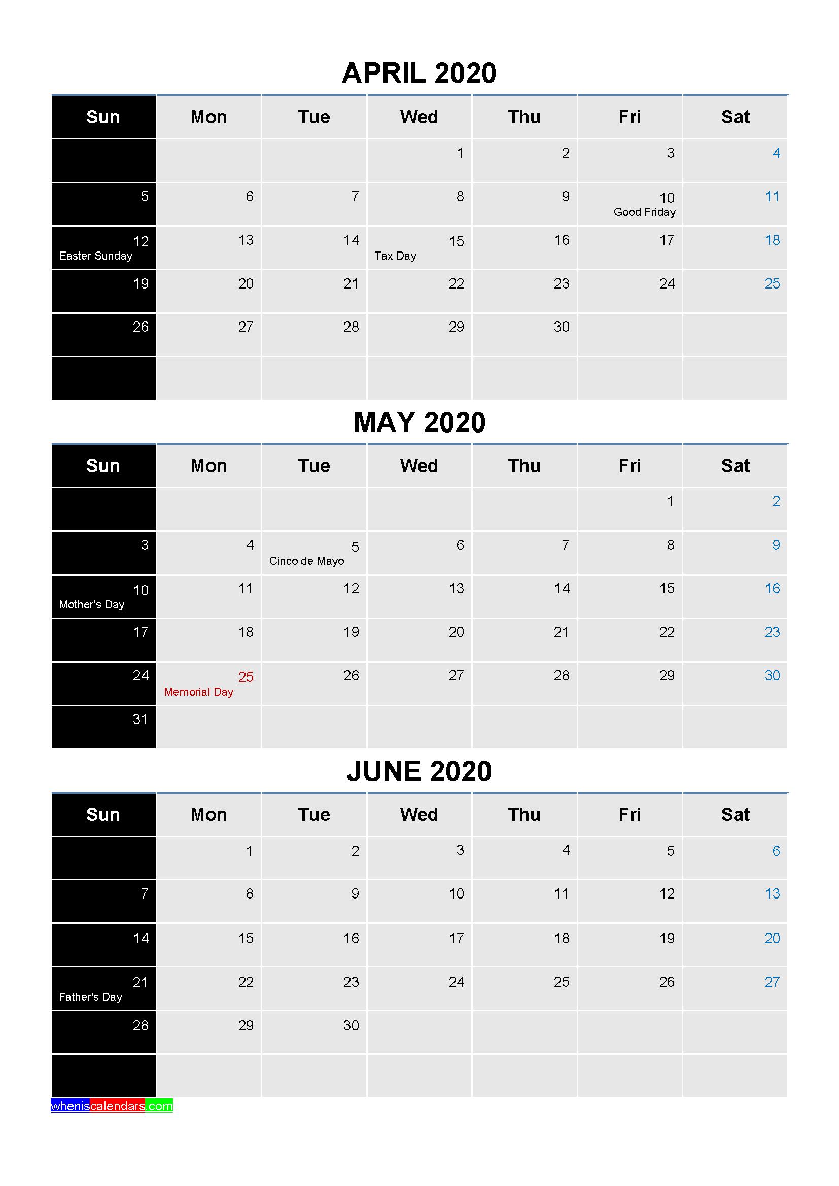 April May June 2020 Calendar with Holidays