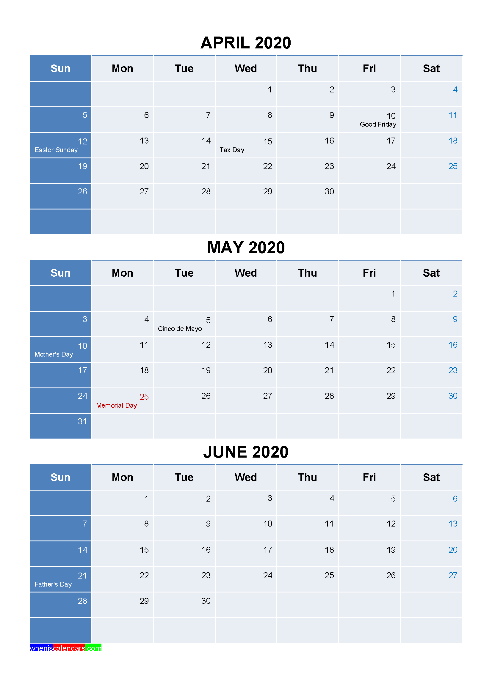 Printable April May June 2020 Calendar Template Word, PDF