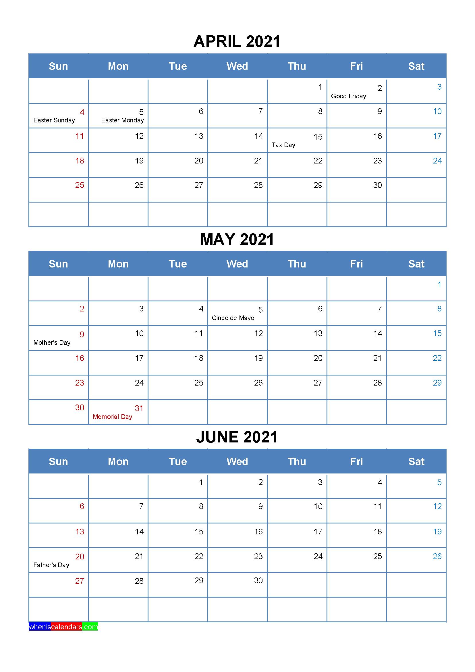 April May June 2021 Calendar with Holidays
