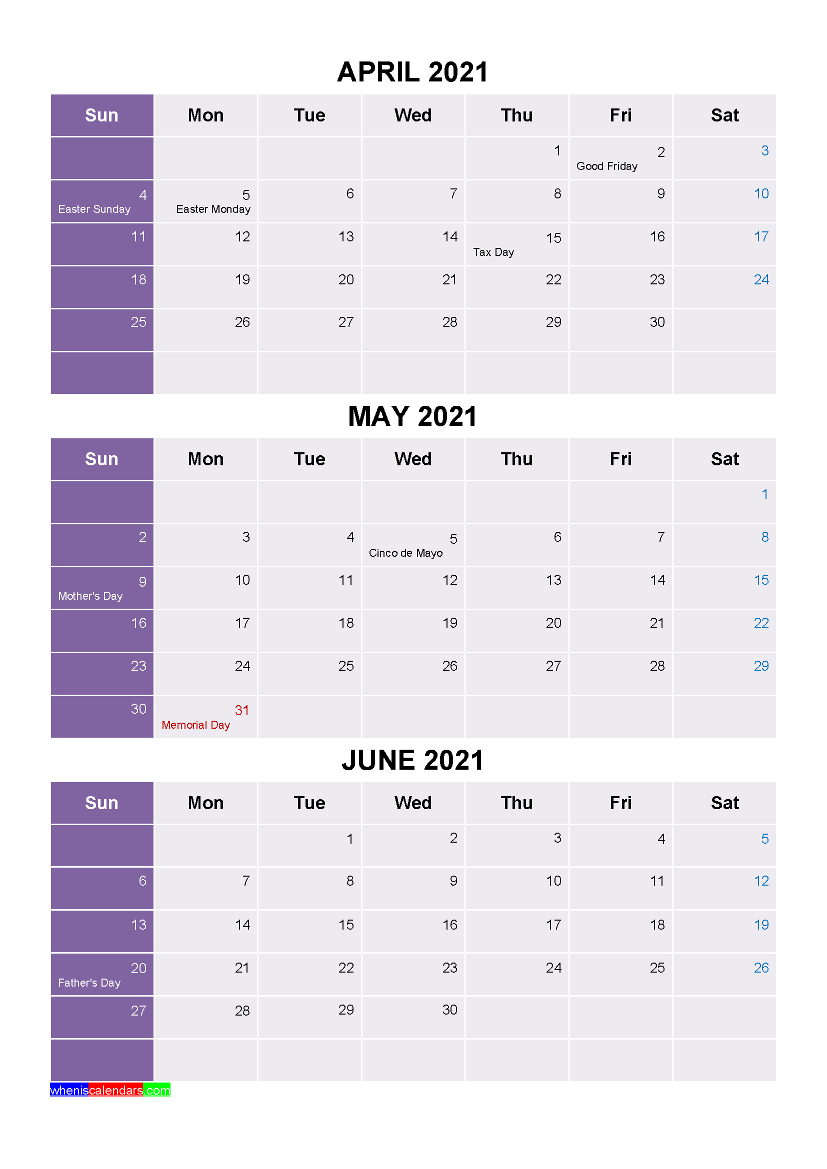 Printable April May June 2021 Calendar with Holidays