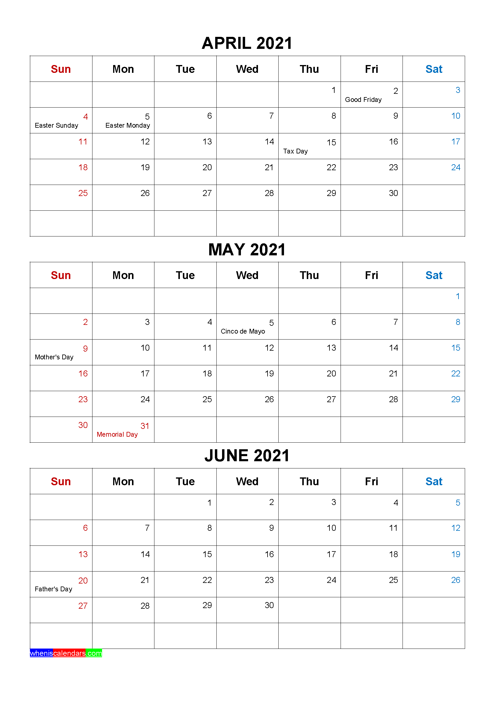 Free April May June 2021 Calendar with Holidays