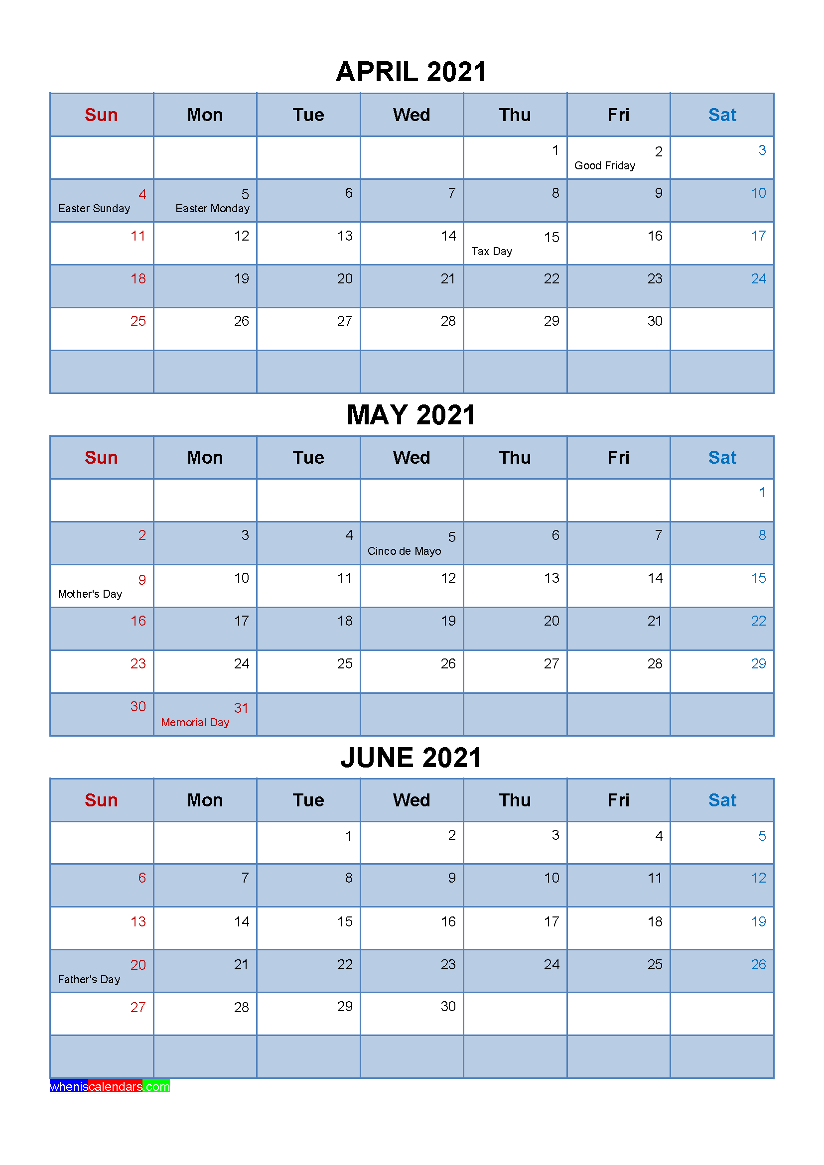 Free Calendar April May June 2021 with Holidays