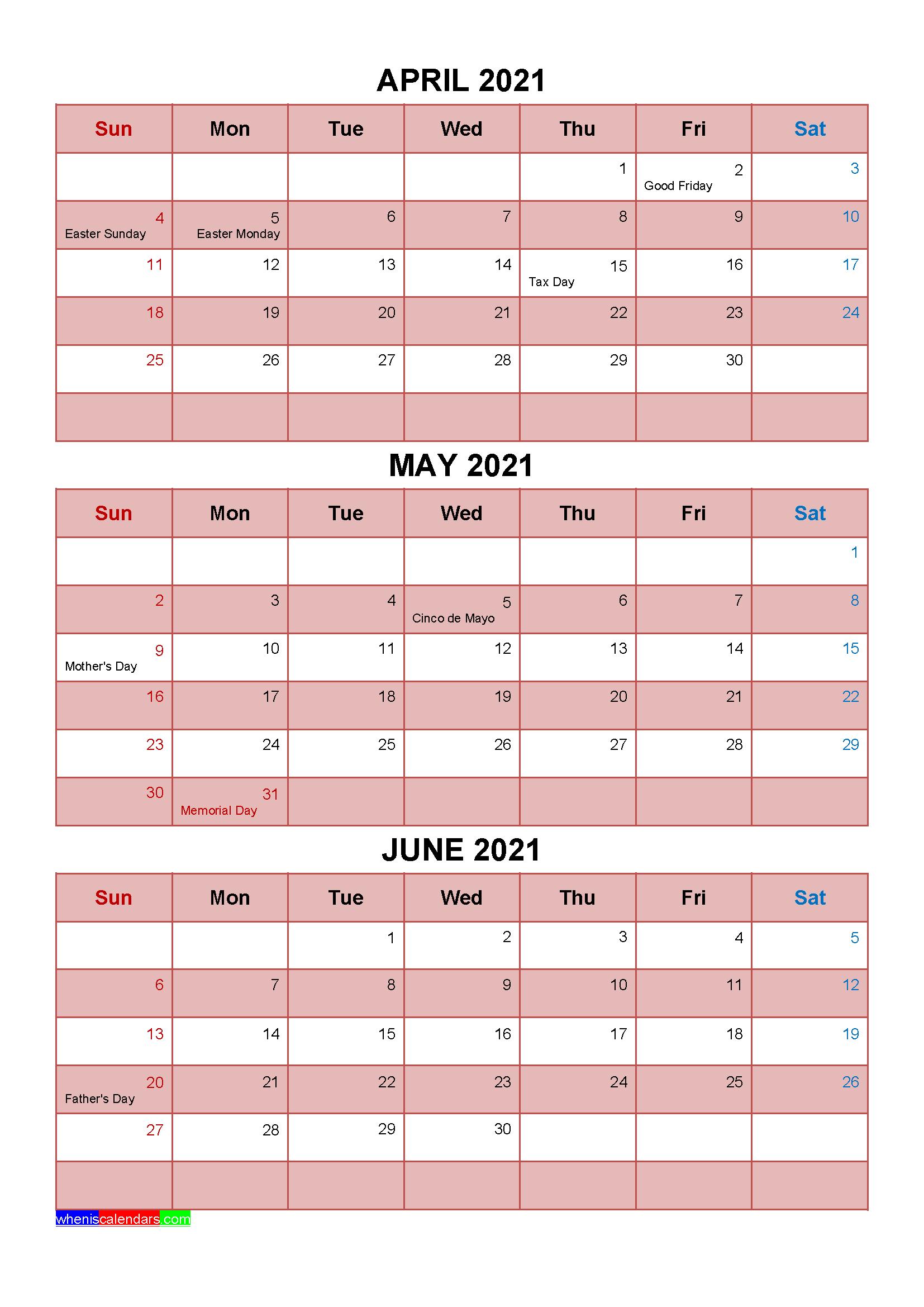 Printable April May June 2021 Calendar with Holidays