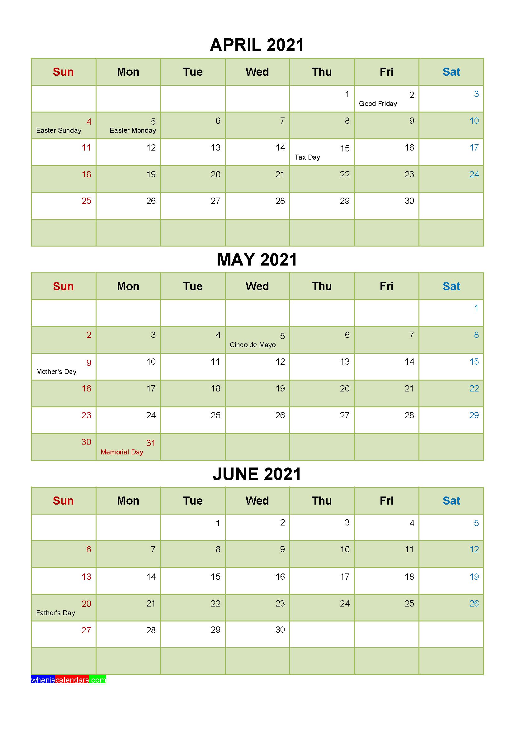 April May June 2021 Calendar with Holidays Printable