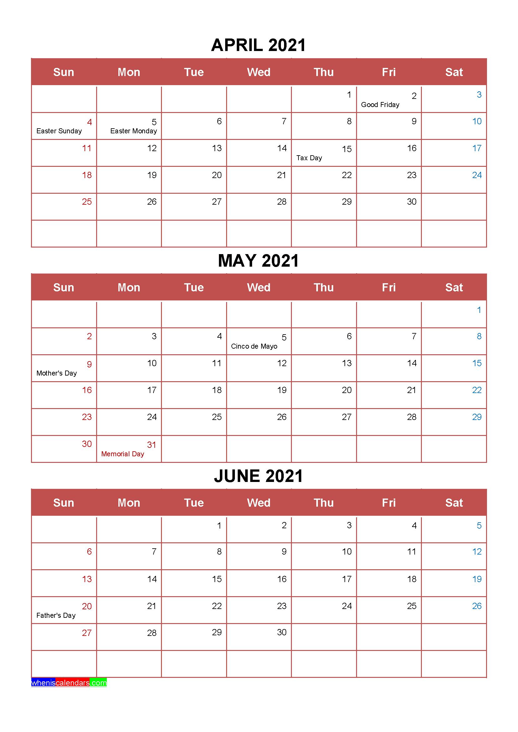 Calendar Quarters 2021 Free April May June 2021 Calendar with Holidays [Four Quarters