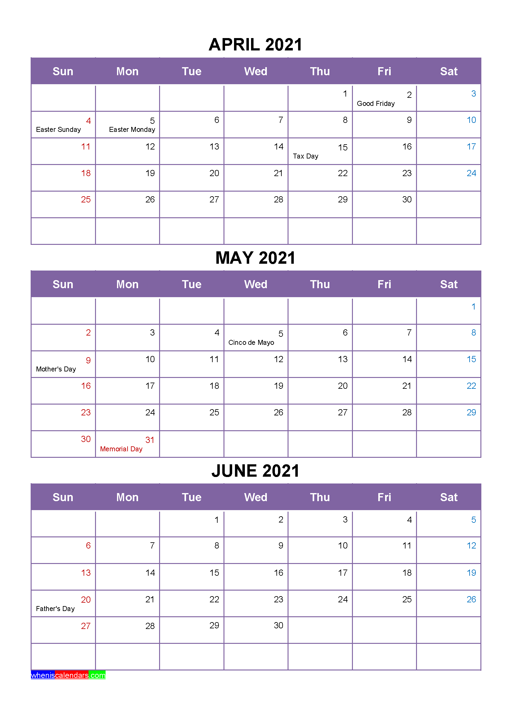 Free April May June 2021 Printable Calendar Template