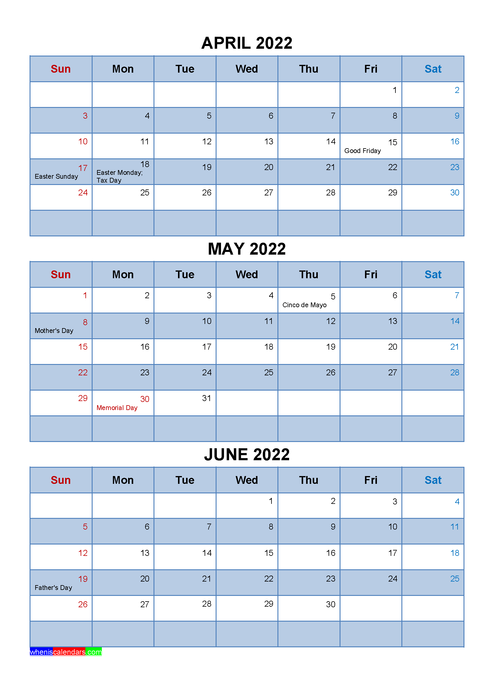 Free Calendar April May June 2022 with Holidays
