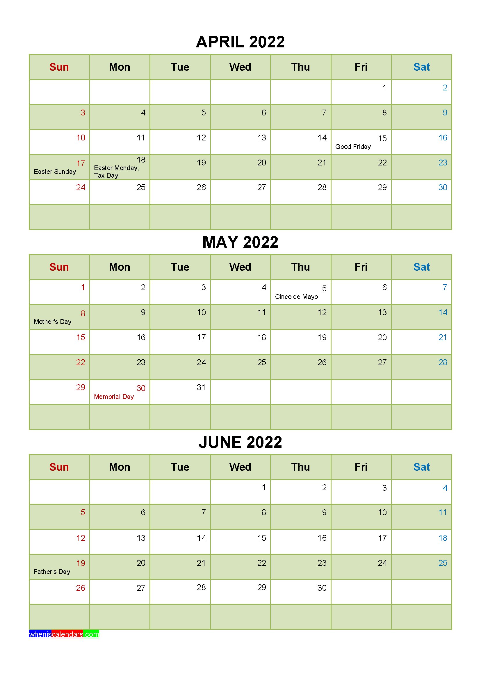April May June 2022 Calendar with Holidays Printable