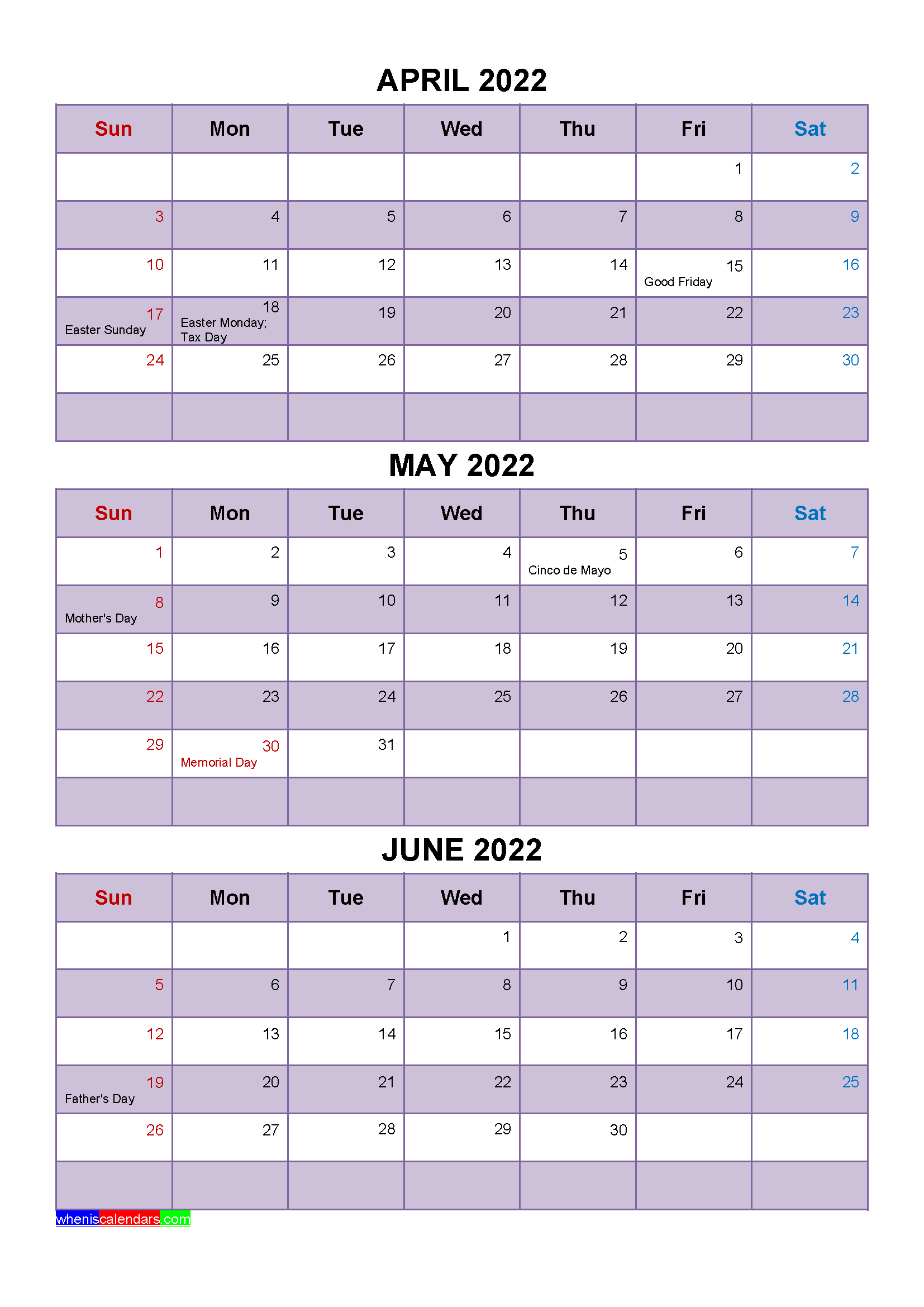 April May June 2022 Calendar with Holidays