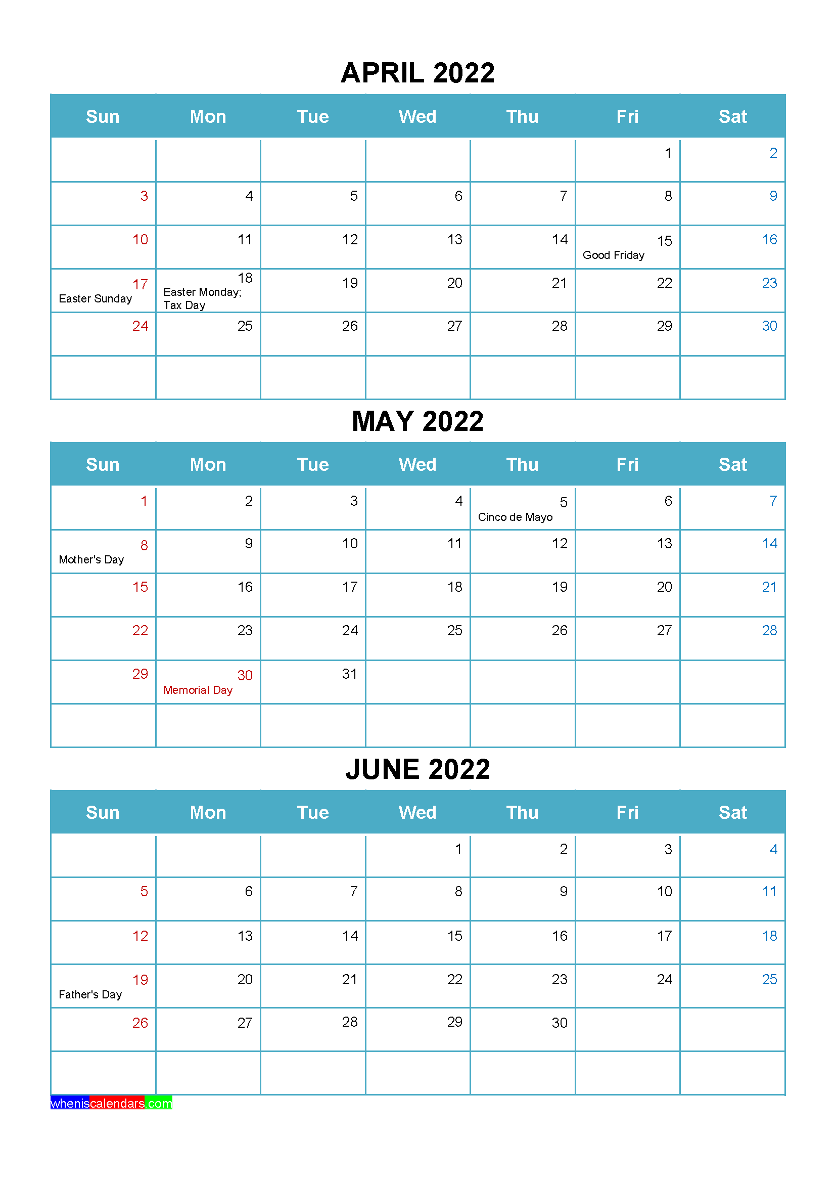 Printable April May June 2022 Calendar with Holidays